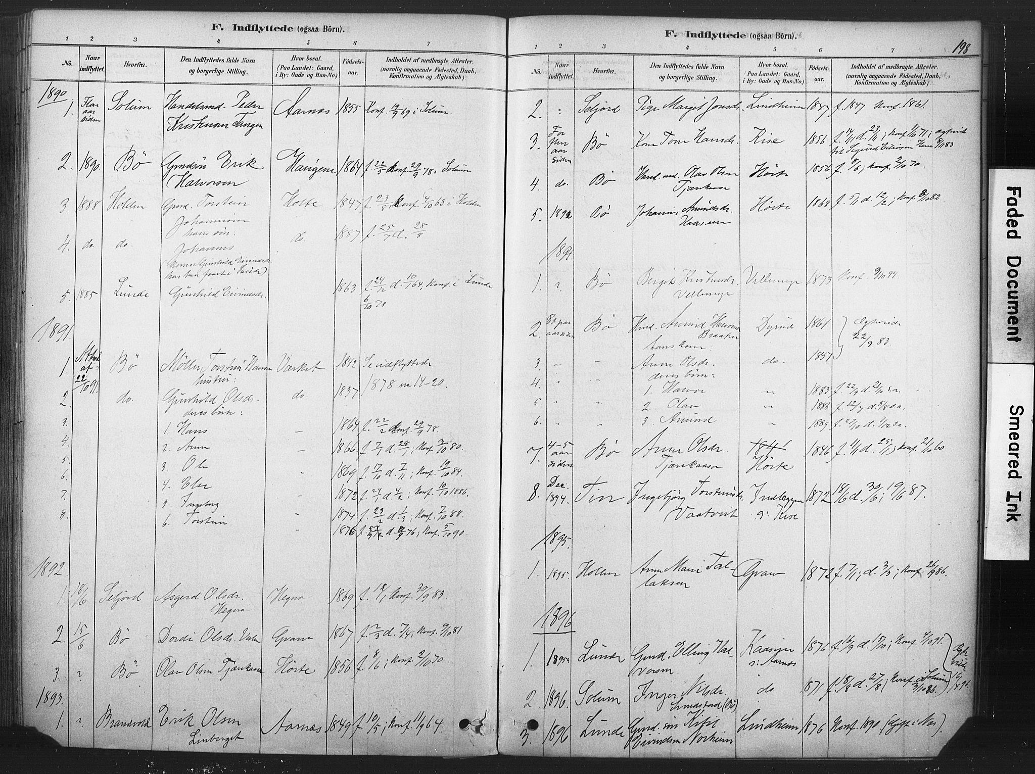 SAKO, Sauherad kirkebøker, F/Fb/L0002: Ministerialbok nr. II 2, 1878-1901, s. 198