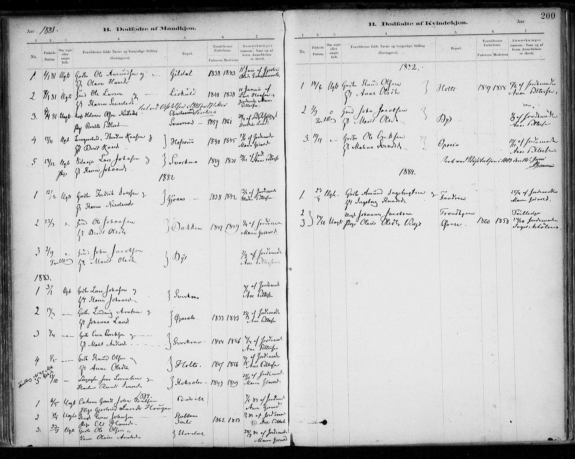 SAT, Ministerialprotokoller, klokkerbøker og fødselsregistre - Sør-Trøndelag, 668/L0809: Ministerialbok nr. 668A09, 1881-1895, s. 200