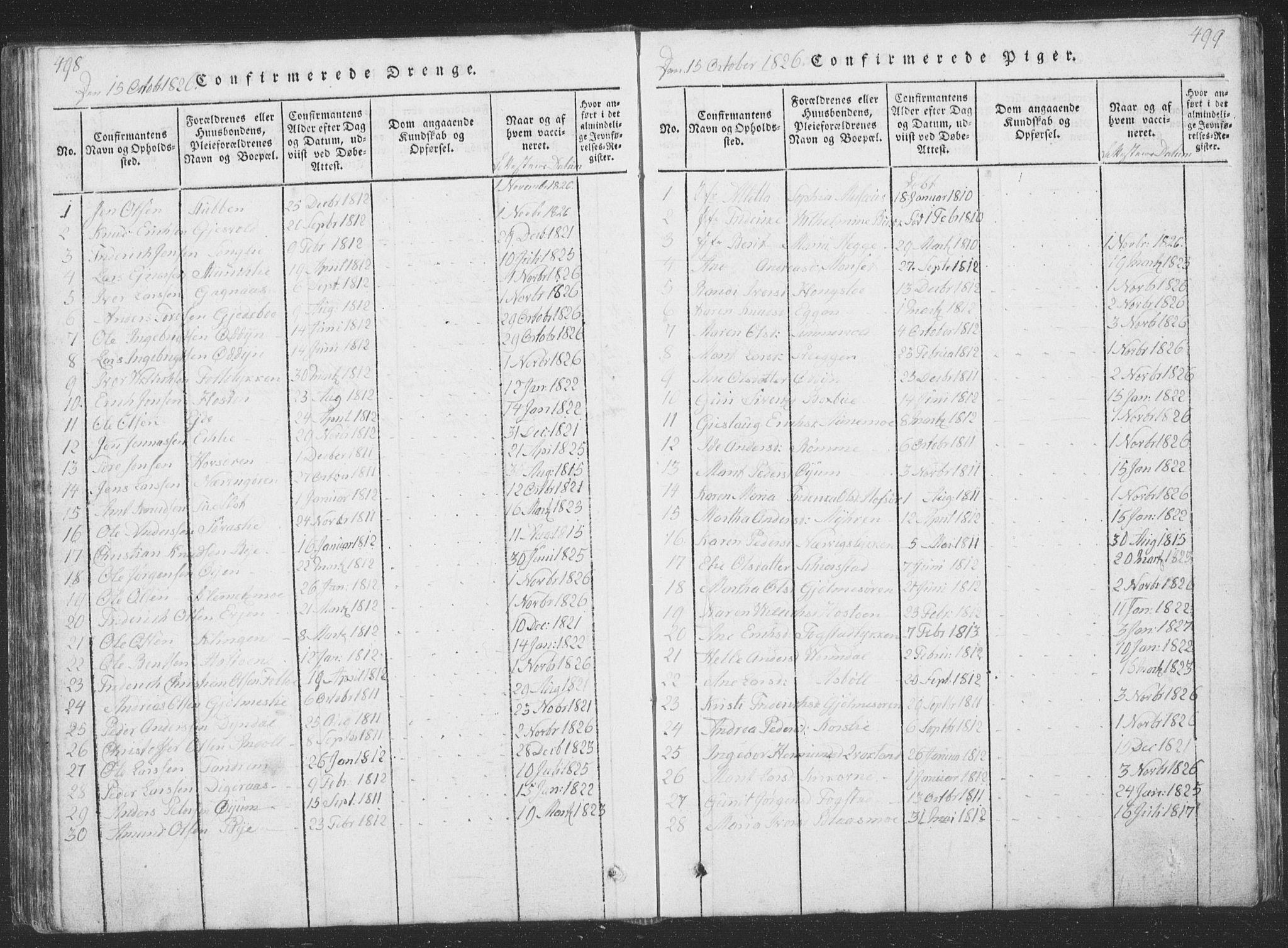 SAT, Ministerialprotokoller, klokkerbøker og fødselsregistre - Sør-Trøndelag, 668/L0816: Klokkerbok nr. 668C05, 1816-1893, s. 498-499