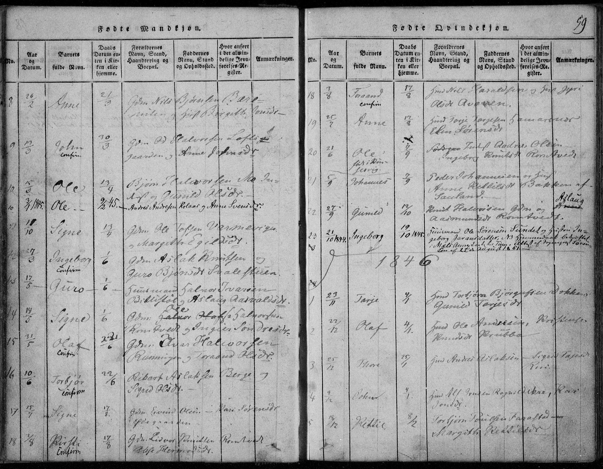 SAKO, Rauland kirkebøker, F/Fa/L0001: Ministerialbok nr. 1, 1814-1859, s. 59