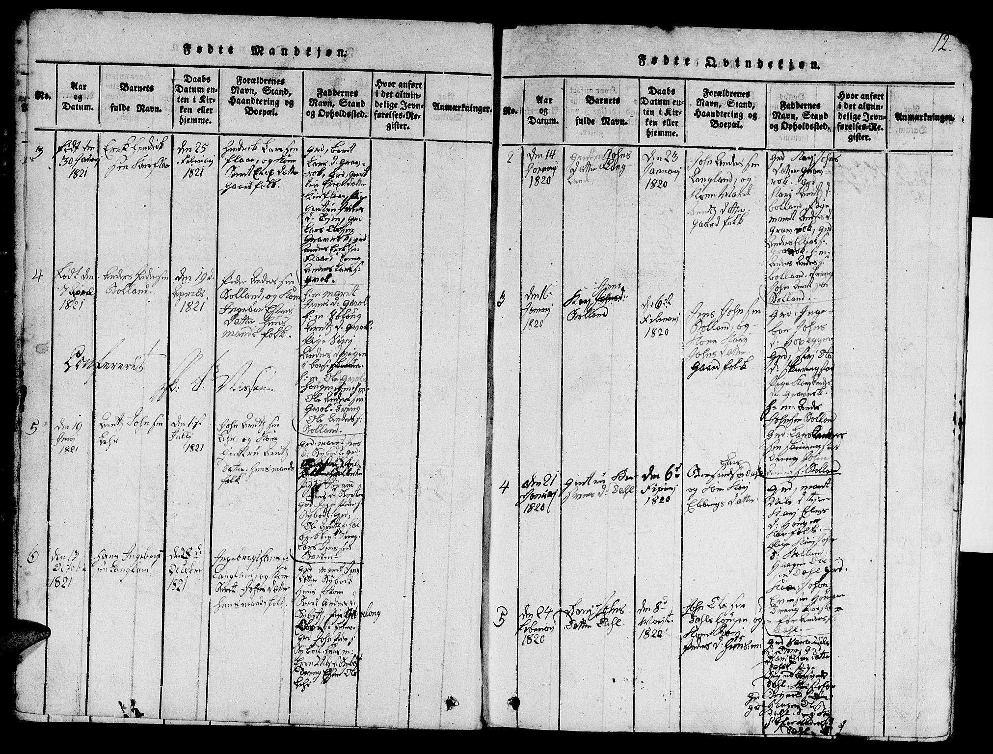 SAT, Ministerialprotokoller, klokkerbøker og fødselsregistre - Sør-Trøndelag, 693/L1121: Klokkerbok nr. 693C02, 1816-1869, s. 12