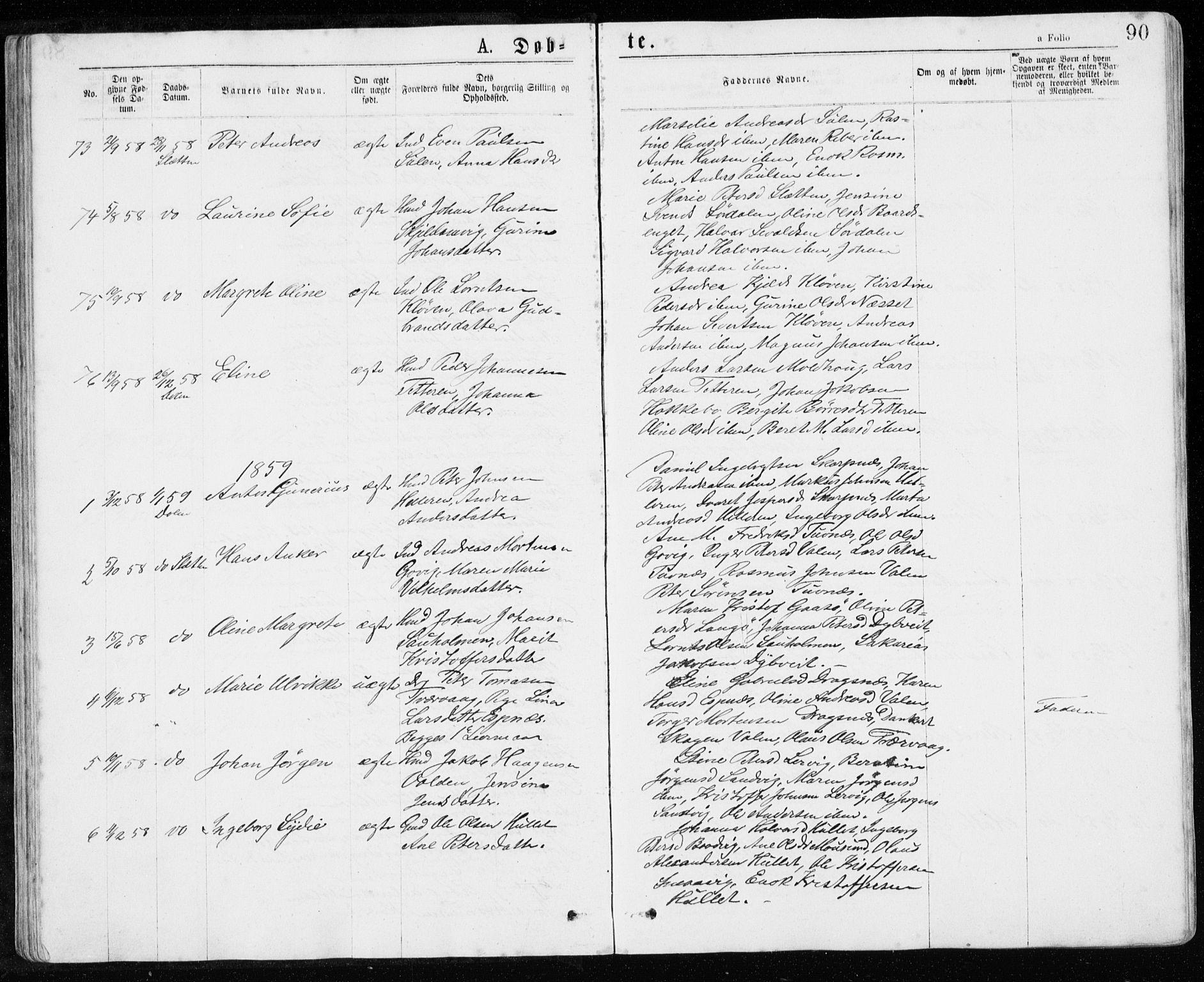 SAT, Ministerialprotokoller, klokkerbøker og fødselsregistre - Sør-Trøndelag, 640/L0576: Ministerialbok nr. 640A01, 1846-1876, s. 90