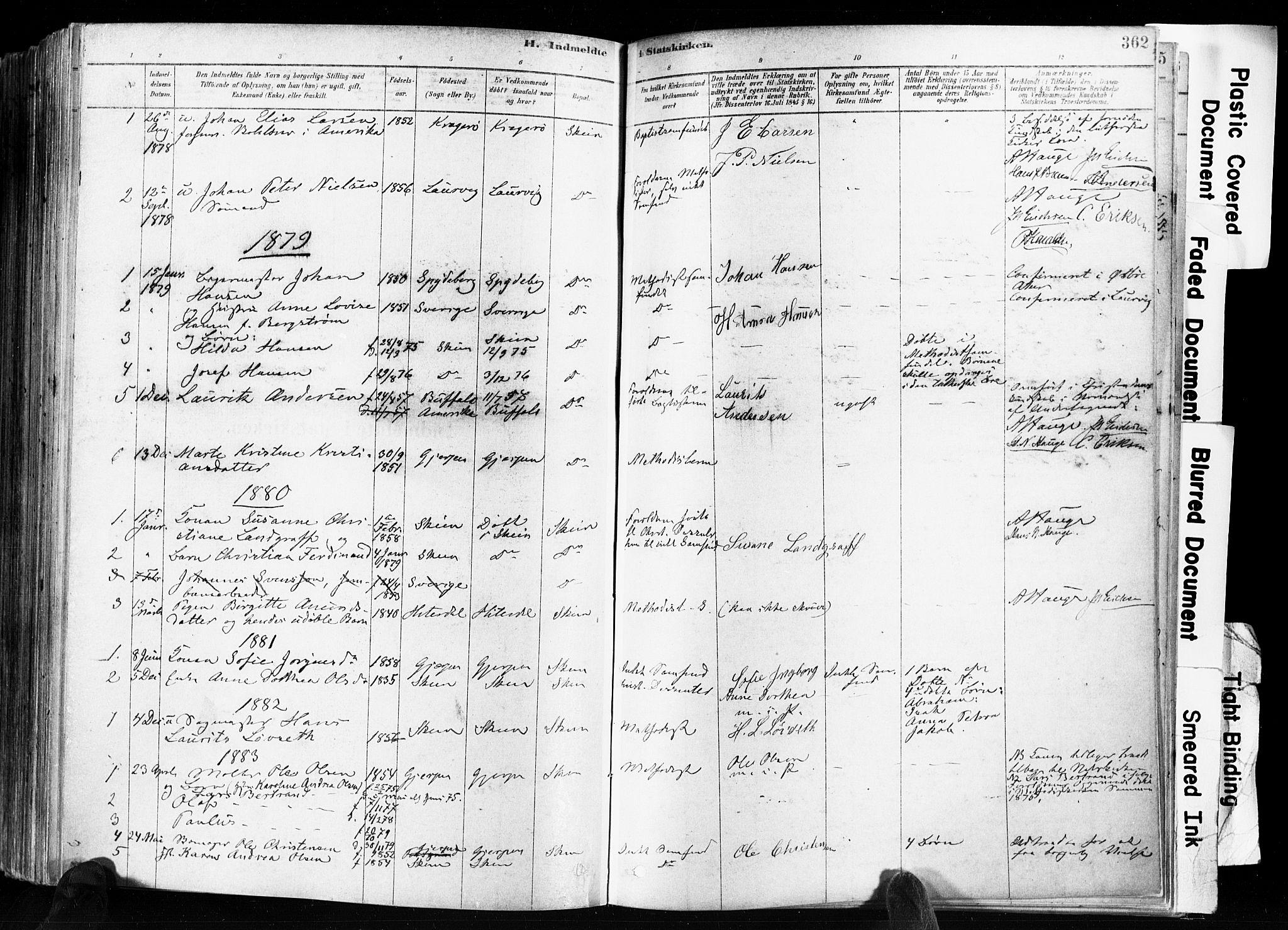 SAKO, Skien kirkebøker, F/Fa/L0009: Ministerialbok nr. 9, 1878-1890, s. 362