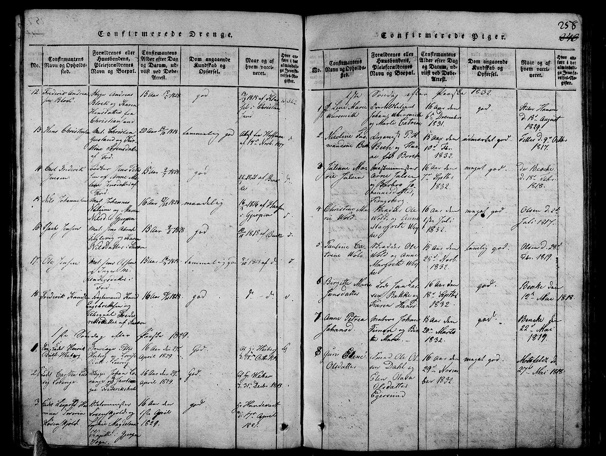 SAKO, Stavern kirkebøker, G/Ga/L0001: Klokkerbok nr. 1, 1817-1841, s. 258