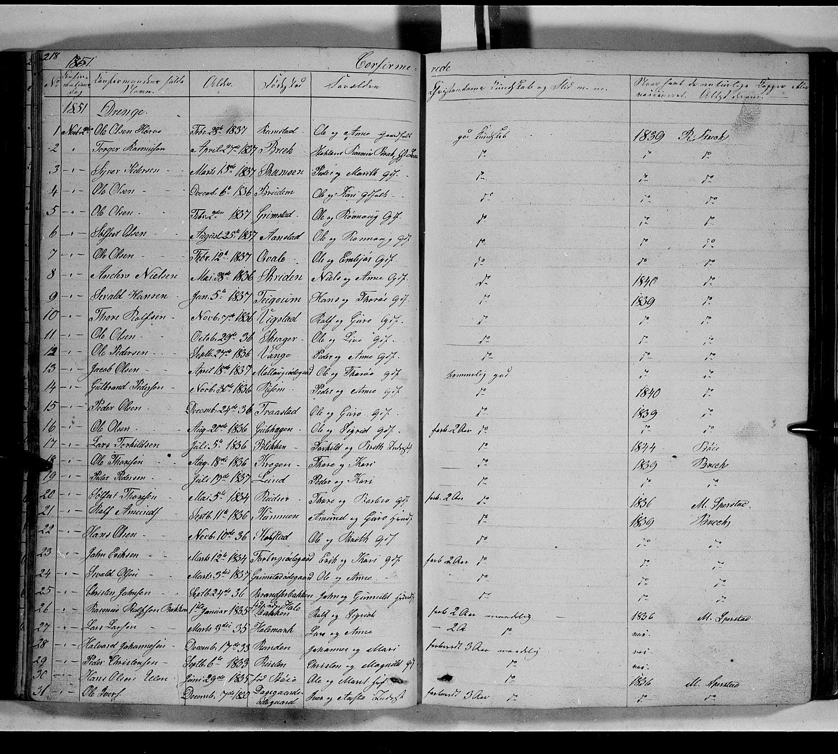 SAH, Lom prestekontor, L/L0004: Klokkerbok nr. 4, 1845-1864, s. 218-219
