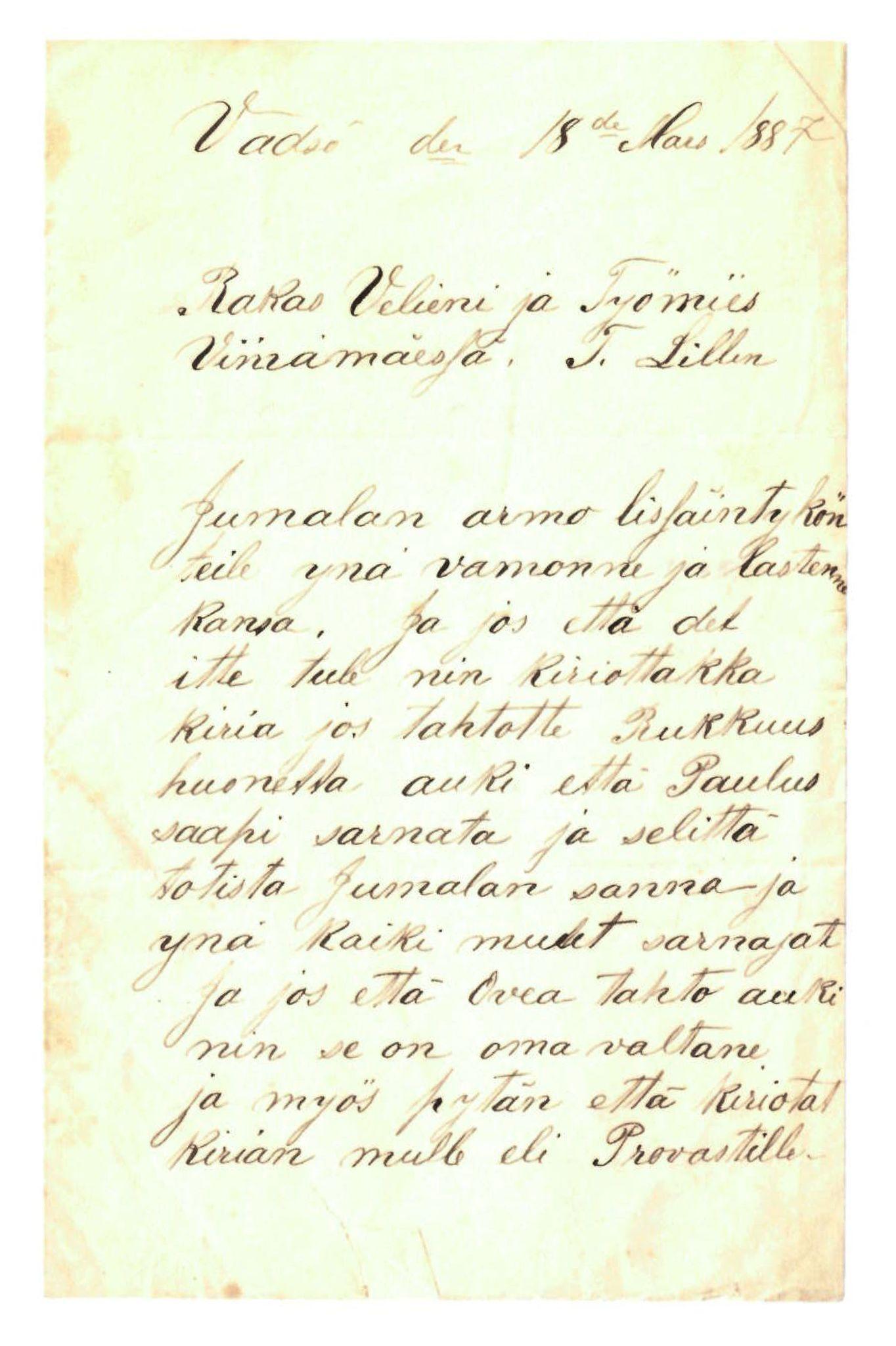 FMFB, Elise Balos brevsamling, F/Fa/L0006: Brev fra P. Palovara til Th. Lilleng, 1887