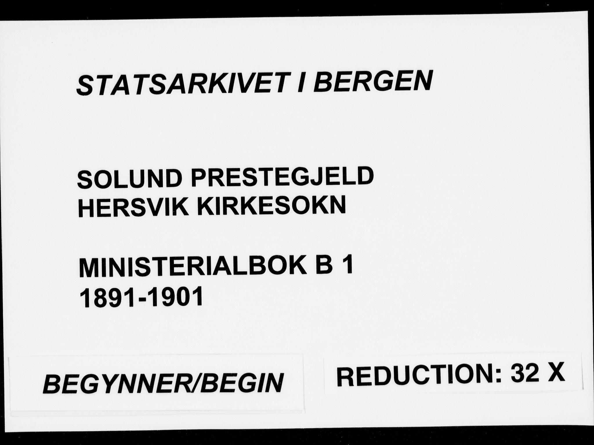 SAB, Solund sokneprestembete, Ministerialbok nr. B  1, 1891-1901