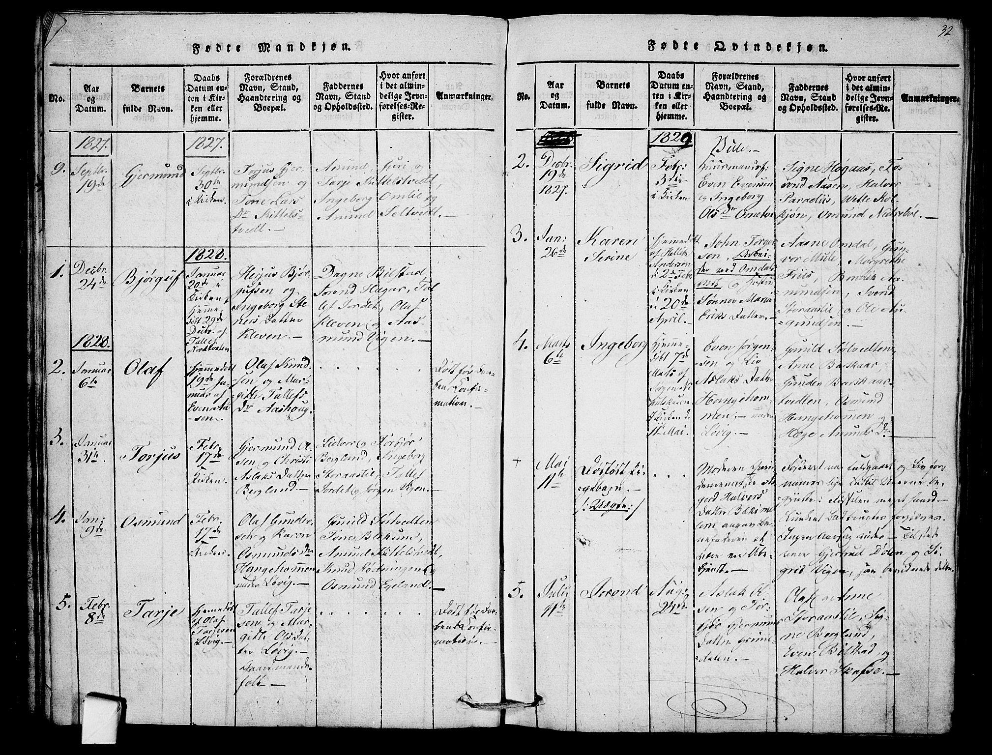 SAKO, Mo kirkebøker, F/Fb/L0001: Ministerialbok nr. II 1, 1814-1844, s. 32