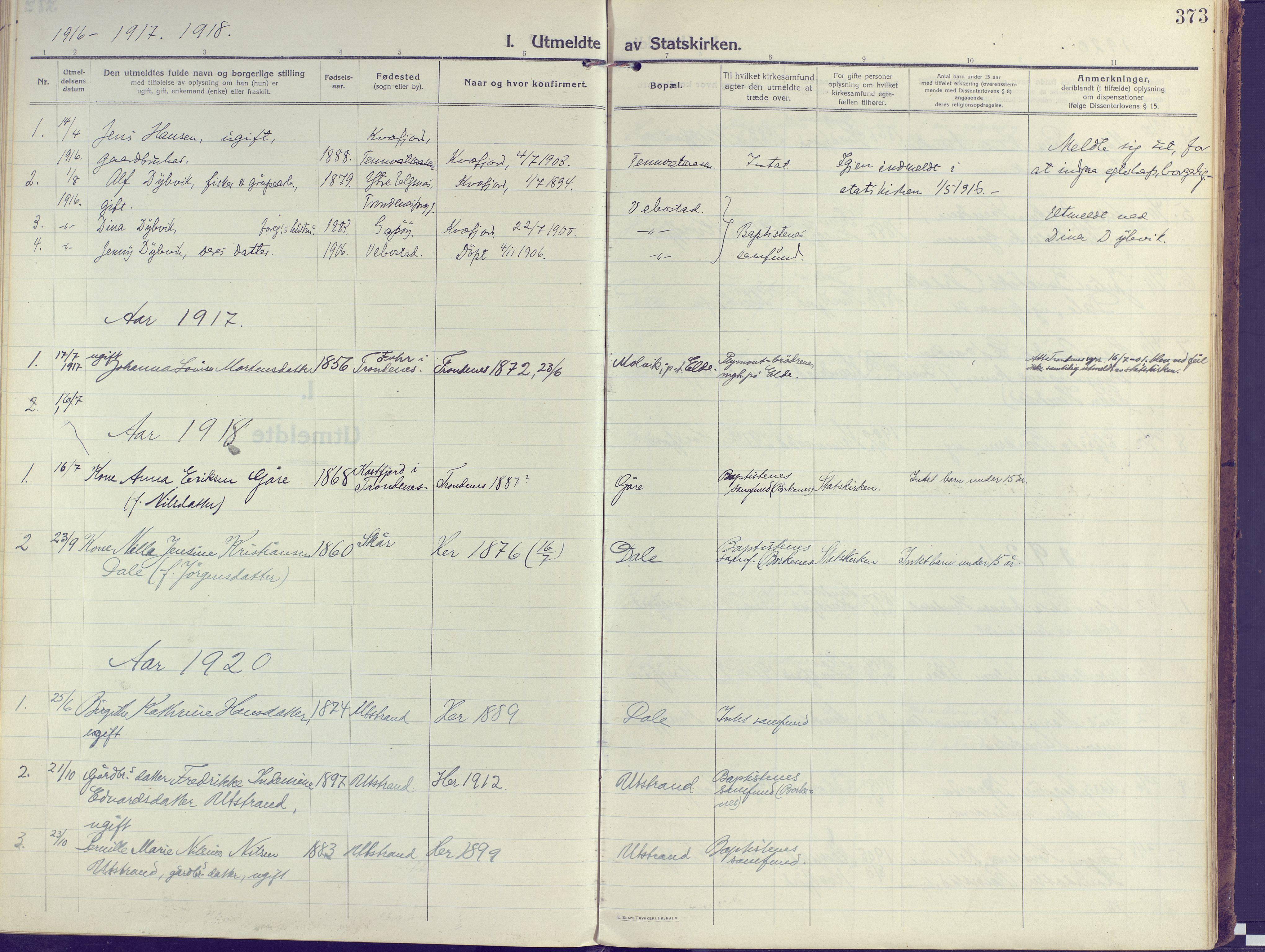 SATØ, Kvæfjord sokneprestkontor, G/Ga/Gaa/L0007kirke: Ministerialbok nr. 7, 1915-1931, s. 373