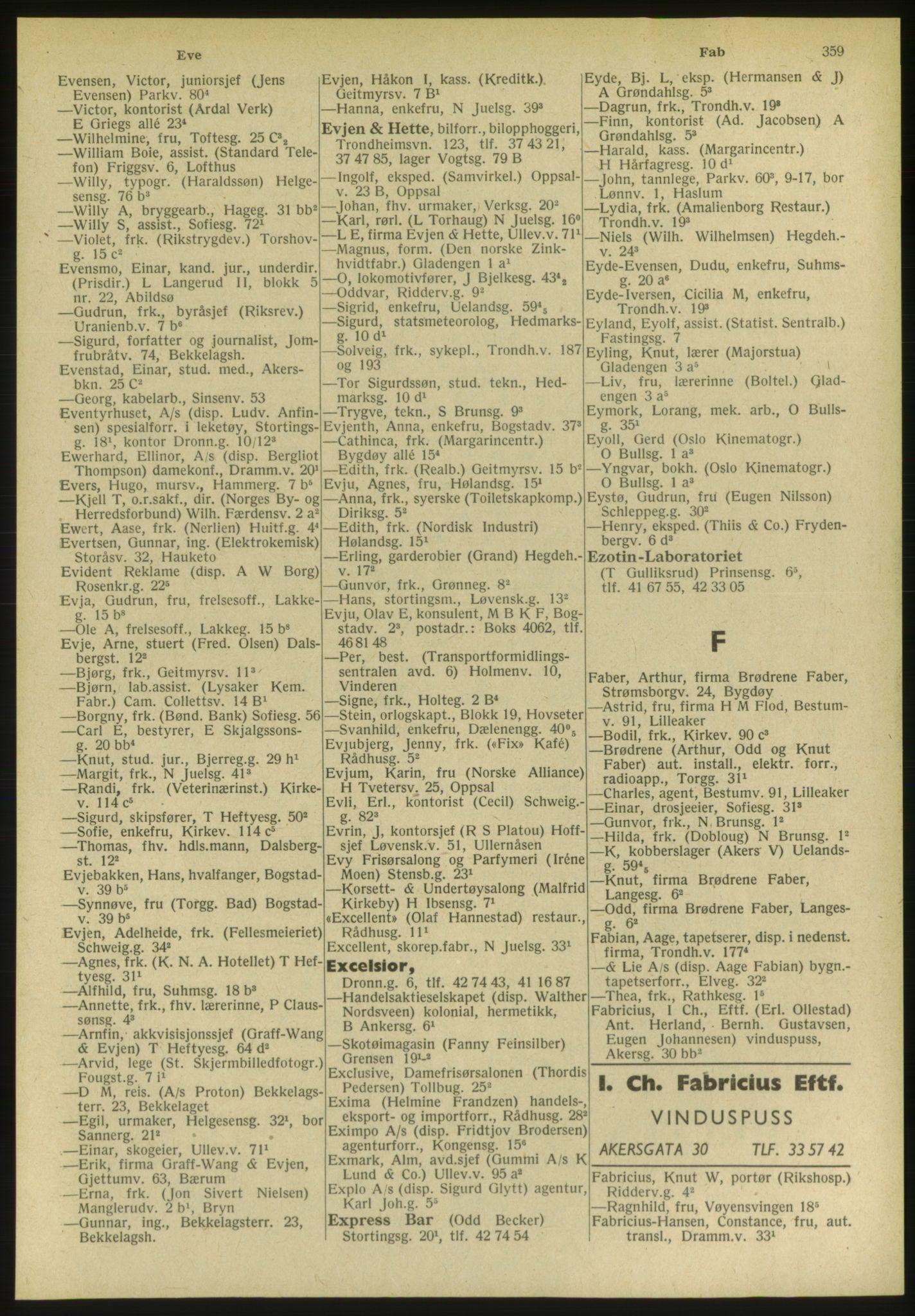 PUBL, Kristiania/Oslo adressebok, 1951, s. 359