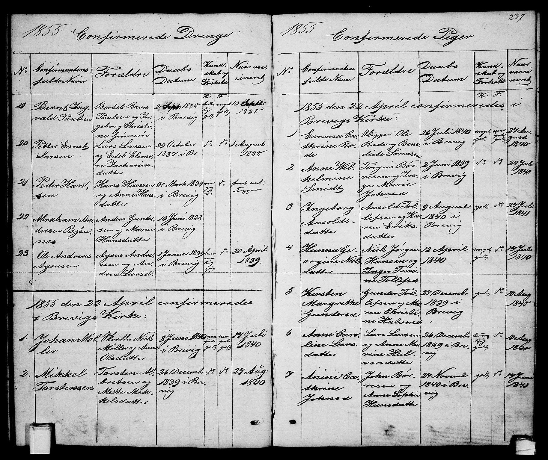 SAKO, Brevik kirkebøker, G/Ga/L0002: Klokkerbok nr. 2, 1846-1865, s. 237