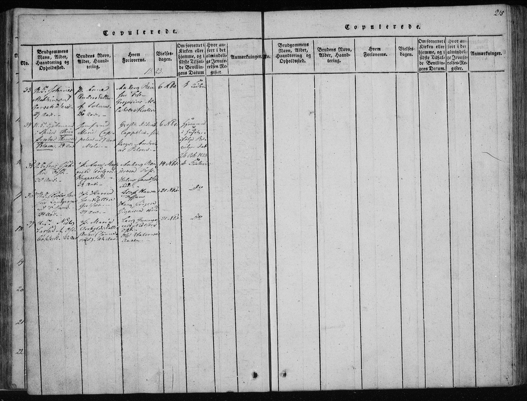 SAKO, Gjerpen kirkebøker, F/Fa/L0004: Ministerialbok nr. 4, 1814-1823, s. 215
