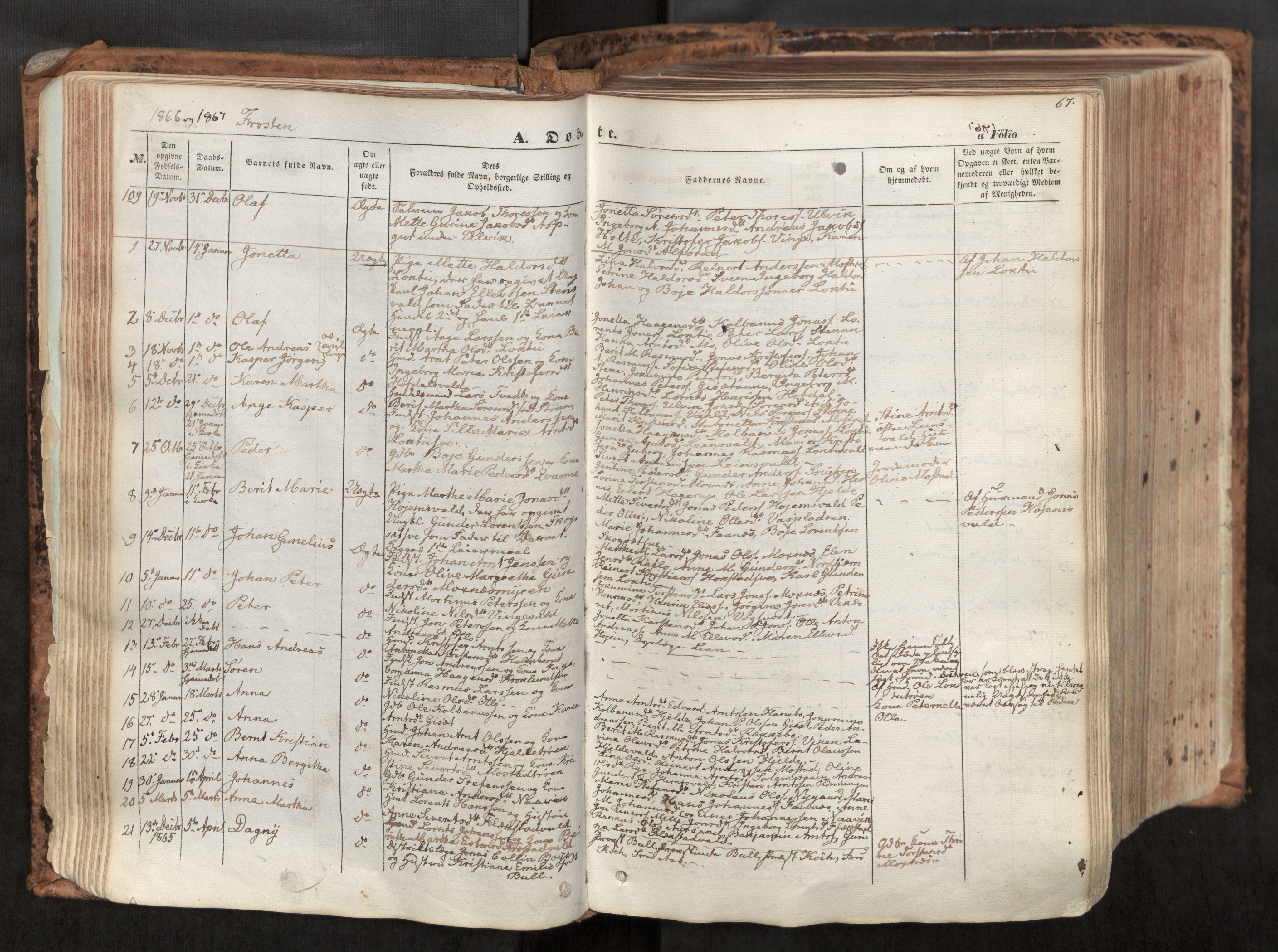 SAT, Ministerialprotokoller, klokkerbøker og fødselsregistre - Nord-Trøndelag, 713/L0116: Ministerialbok nr. 713A07, 1850-1877, s. 67