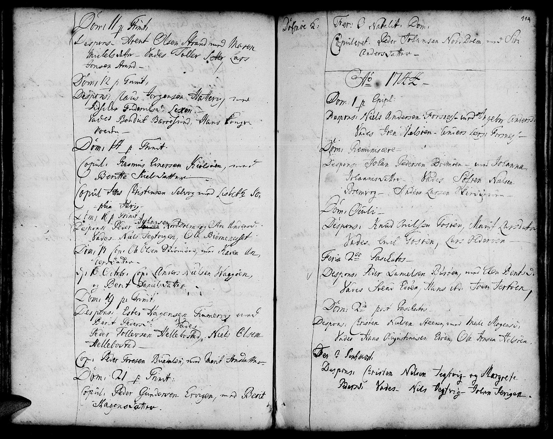 SAT, Ministerialprotokoller, klokkerbøker og fødselsregistre - Sør-Trøndelag, 634/L0525: Ministerialbok nr. 634A01, 1736-1775, s. 114