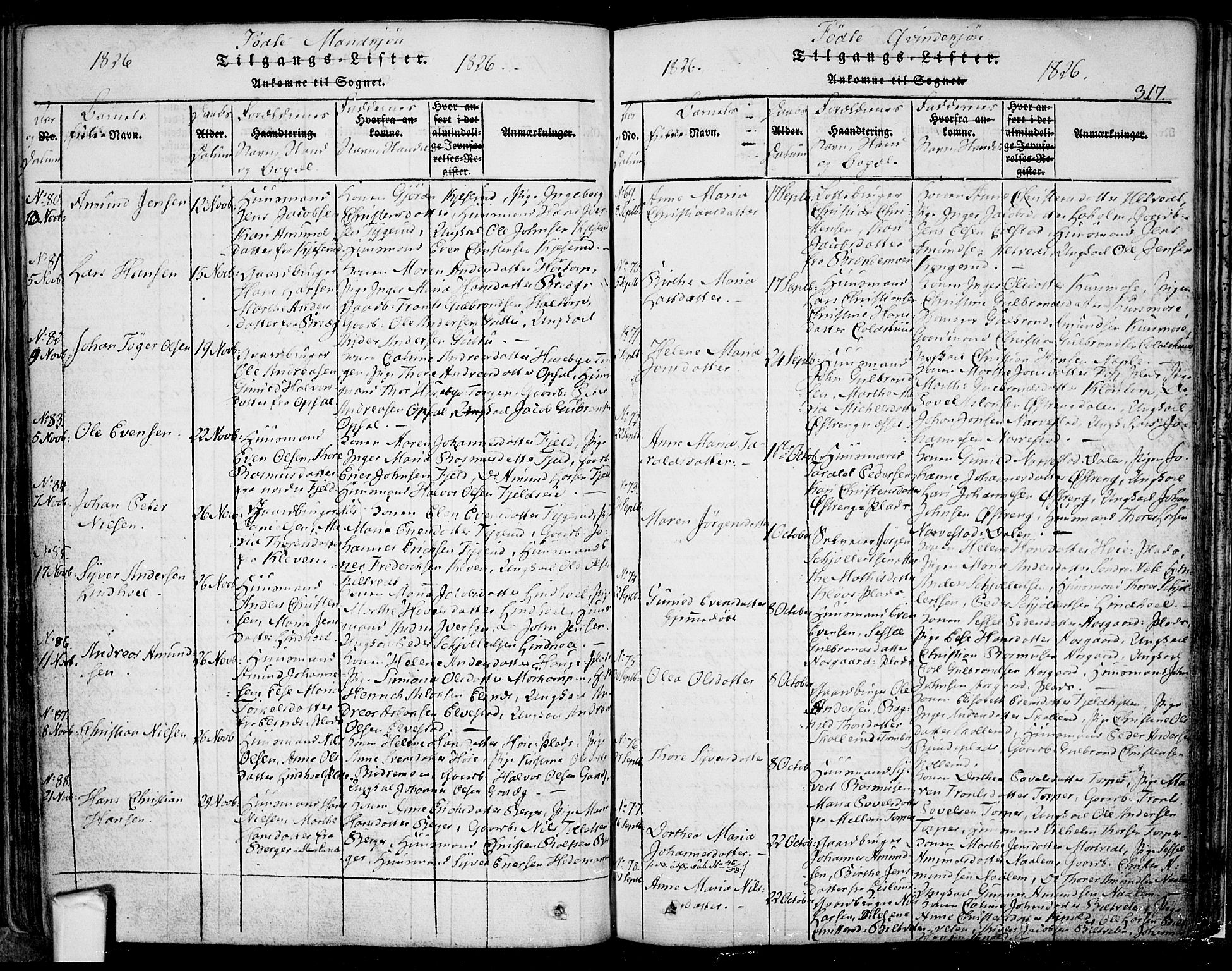 SAO, Eidsberg prestekontor Kirkebøker, F/Fa/L0007: Ministerialbok nr. I 7, 1814-1832, s. 317