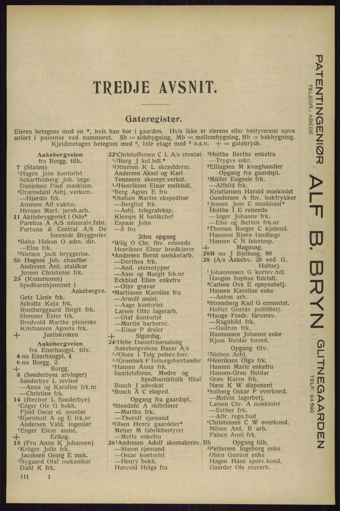 RA, Oslo adressebok (publikasjon)*, 1929, s. 1325