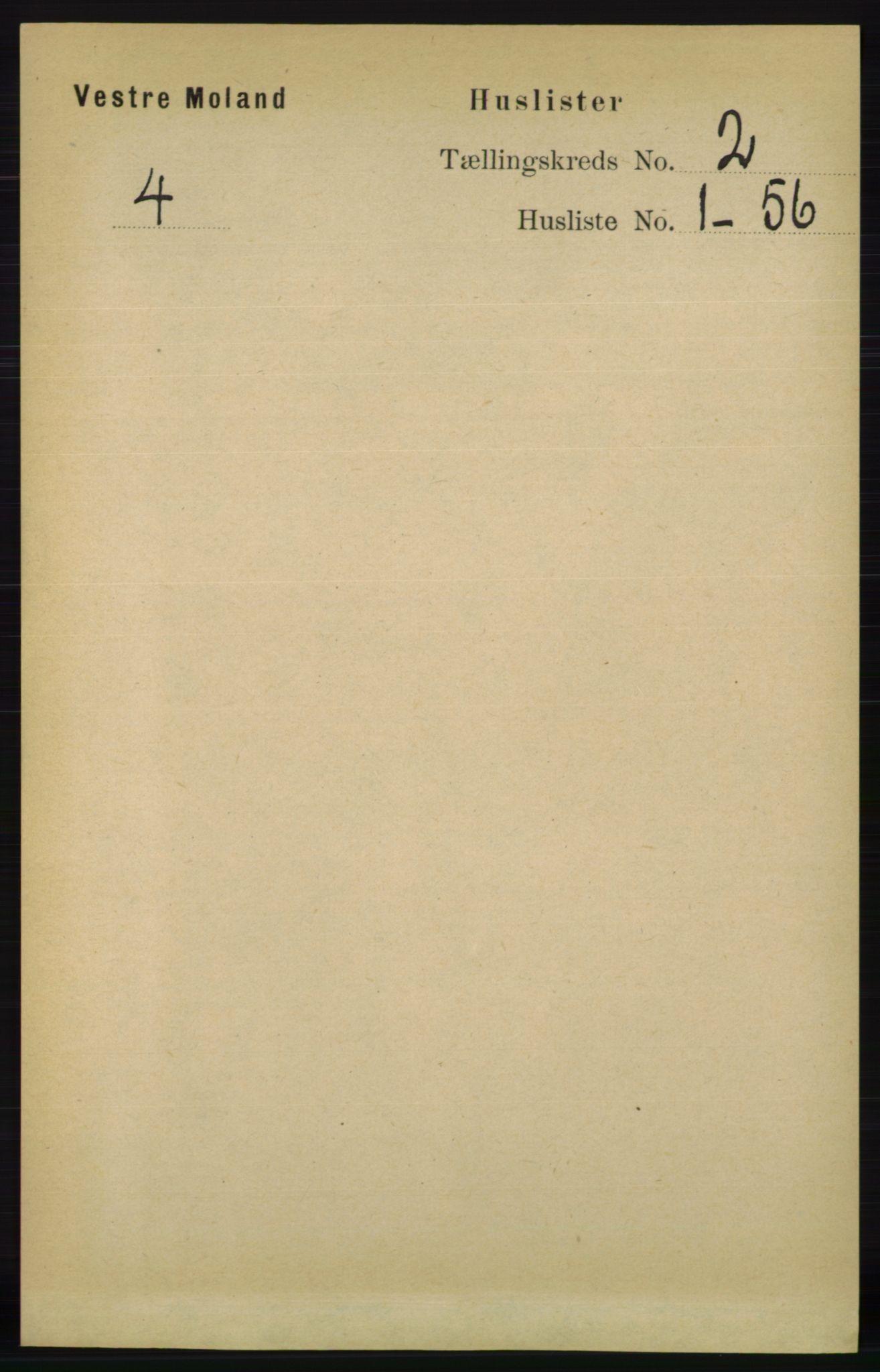 RA, Folketelling 1891 for 0926 Vestre Moland herred, 1891, s. 567