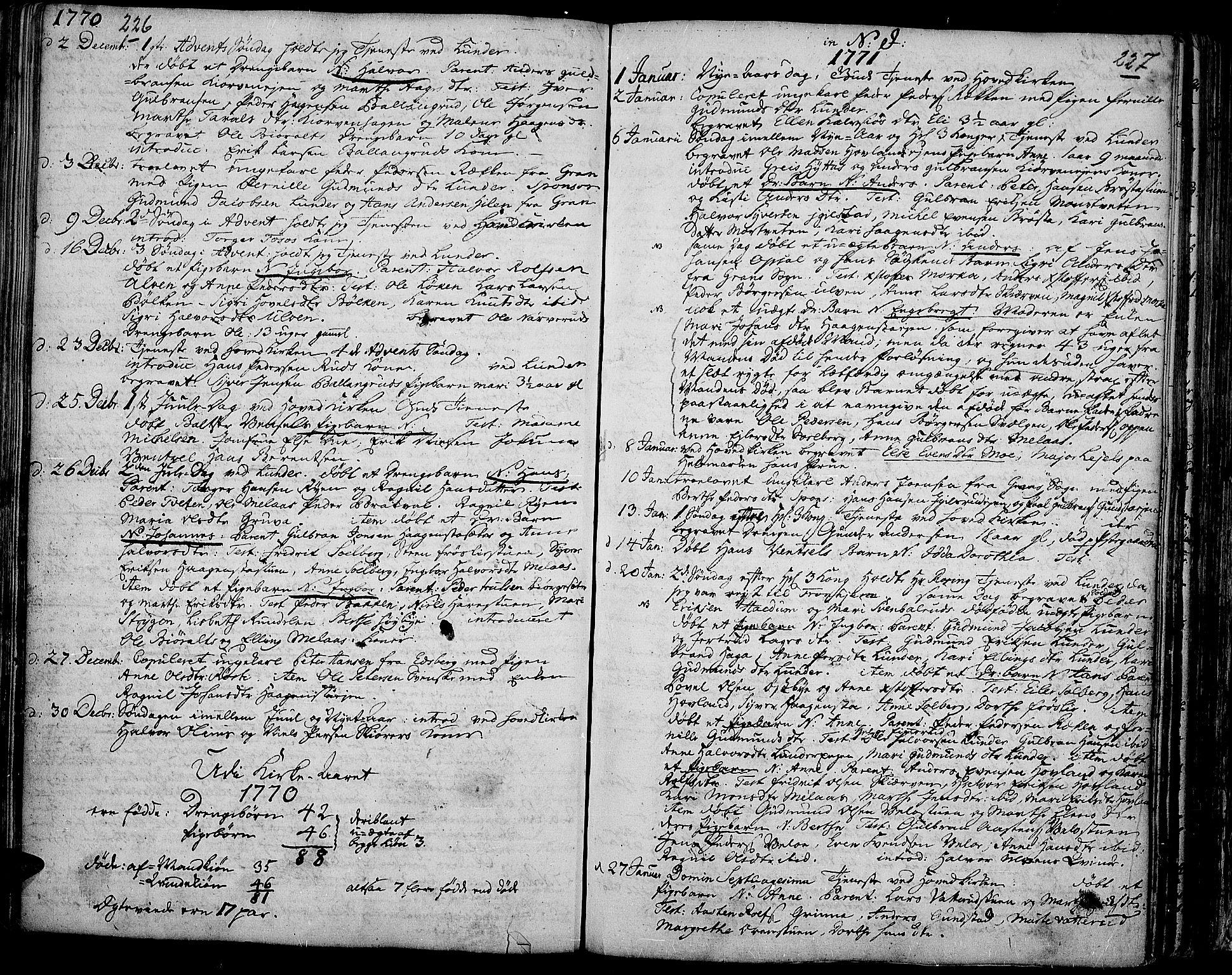SAH, Jevnaker prestekontor, Ministerialbok nr. 3, 1752-1799, s. 226-227