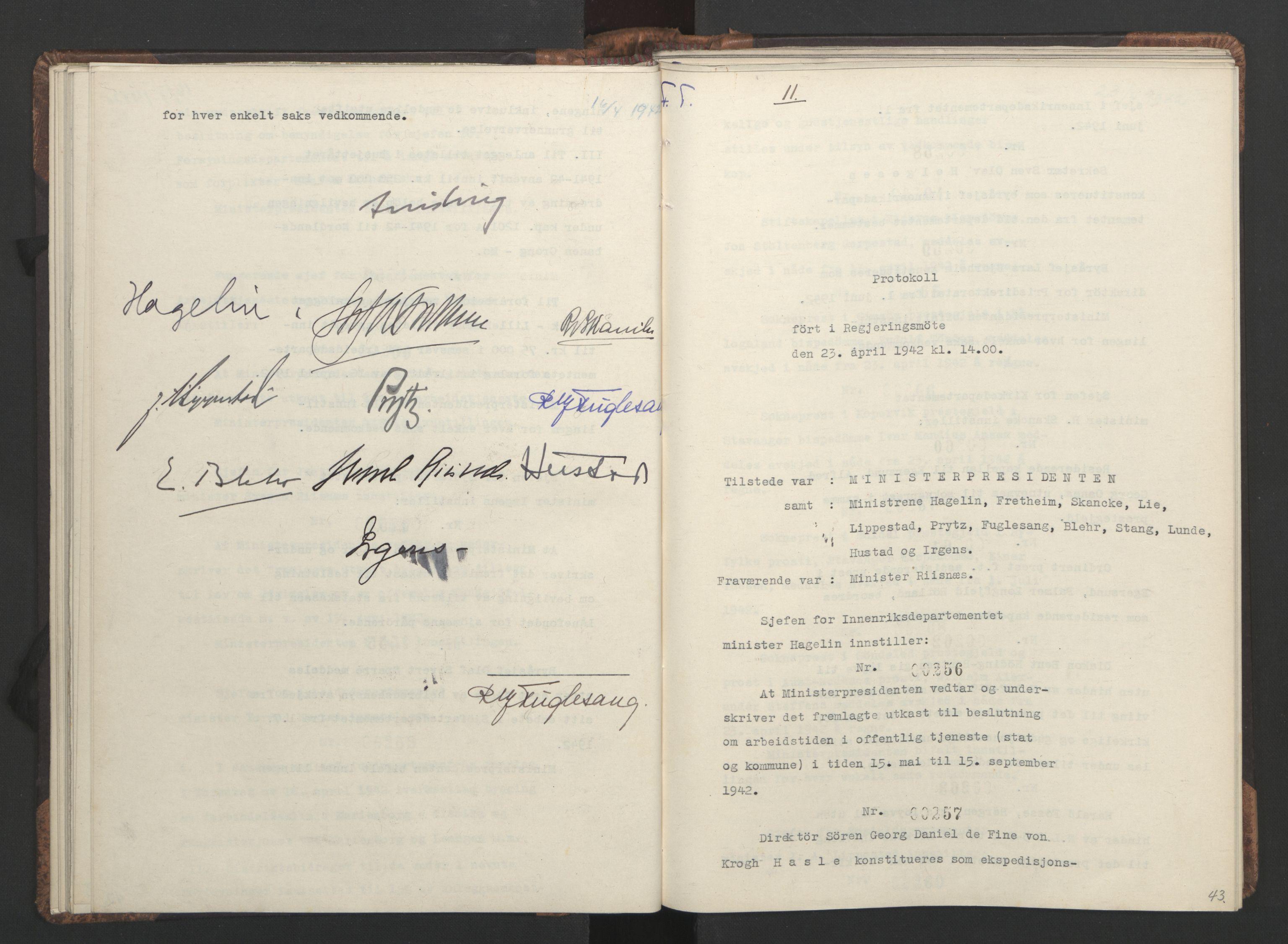 RA, NS-administrasjonen 1940-1945 (Statsrådsekretariatet, de kommisariske statsråder mm), D/Da/L0001: Beslutninger og tillegg (1-952 og 1-32), 1942, s. 42b-43a