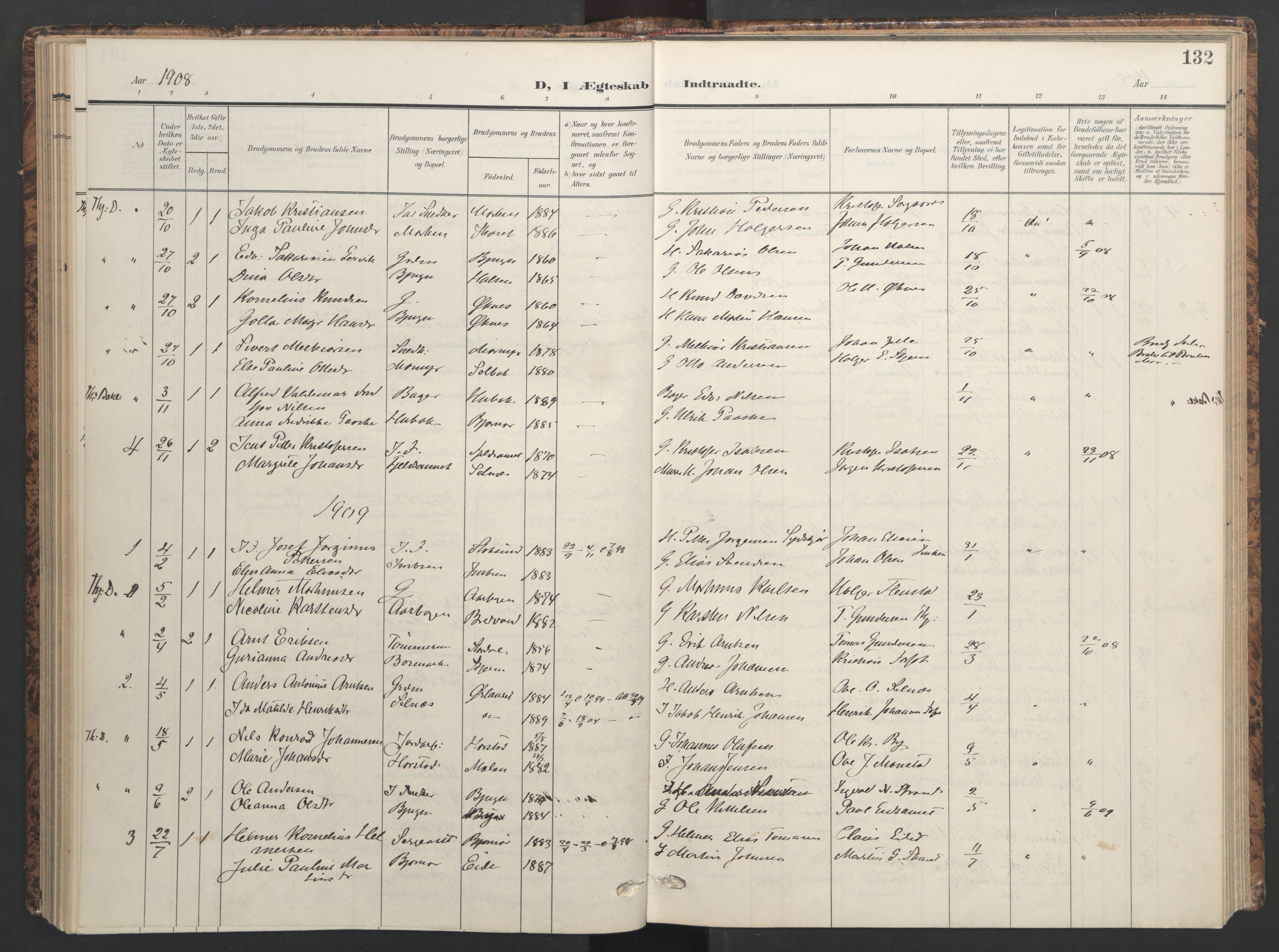 SAT, Ministerialprotokoller, klokkerbøker og fødselsregistre - Sør-Trøndelag, 655/L0682: Ministerialbok nr. 655A11, 1908-1922, s. 132