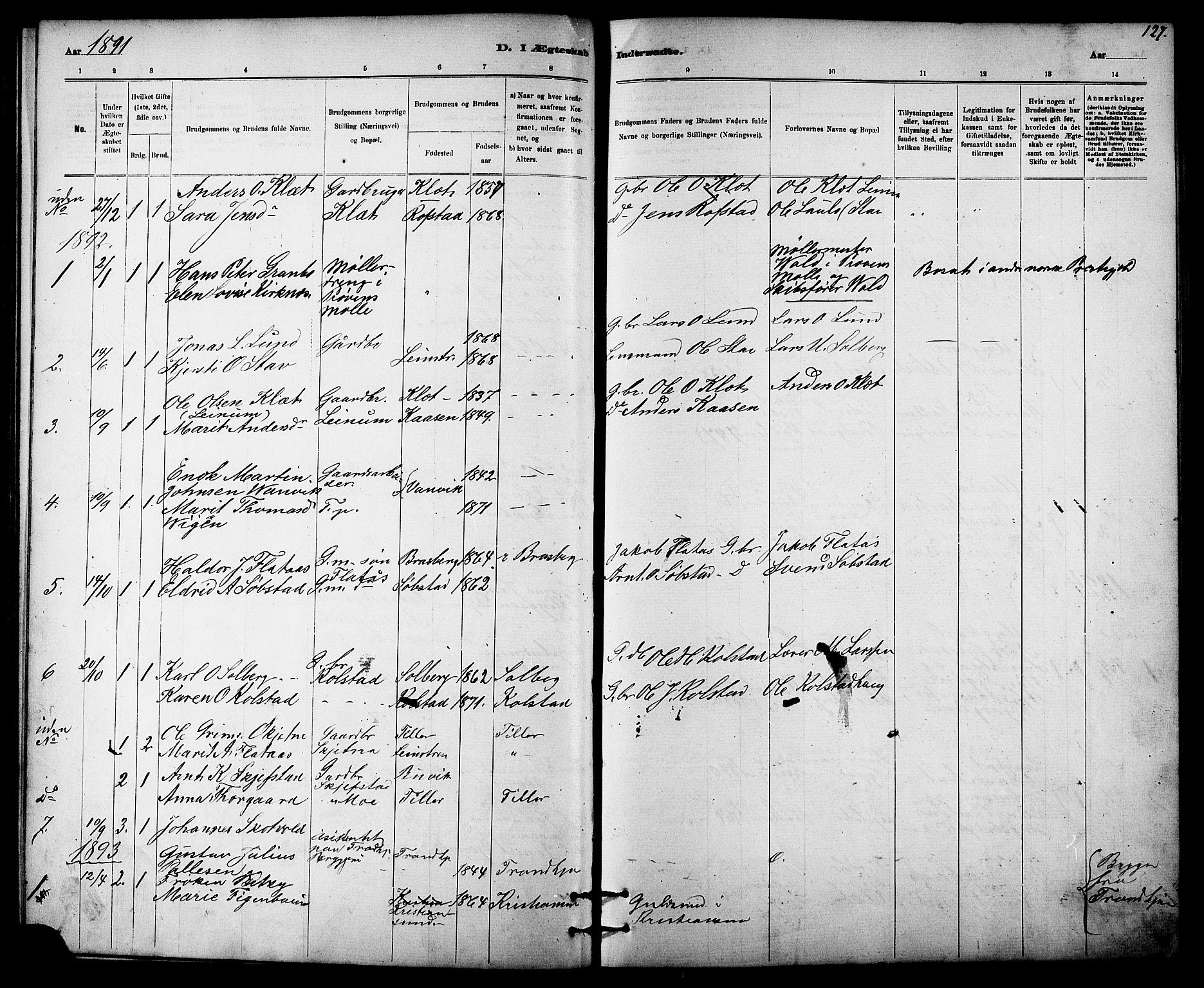 SAT, Ministerialprotokoller, klokkerbøker og fødselsregistre - Sør-Trøndelag, 613/L0395: Klokkerbok nr. 613C03, 1887-1909, s. 127