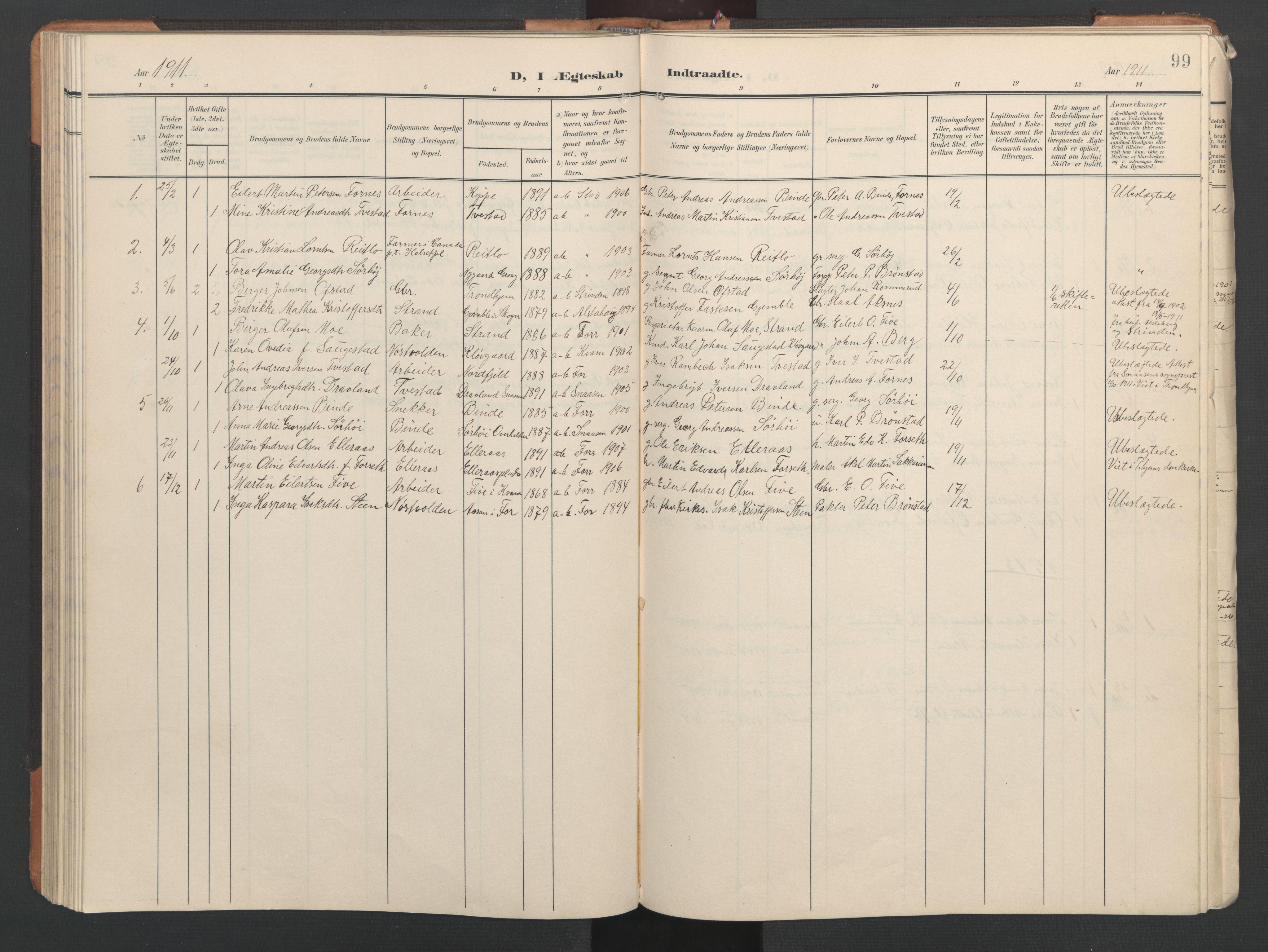 SAT, Ministerialprotokoller, klokkerbøker og fødselsregistre - Nord-Trøndelag, 746/L0455: Klokkerbok nr. 746C01, 1908-1933, s. 99