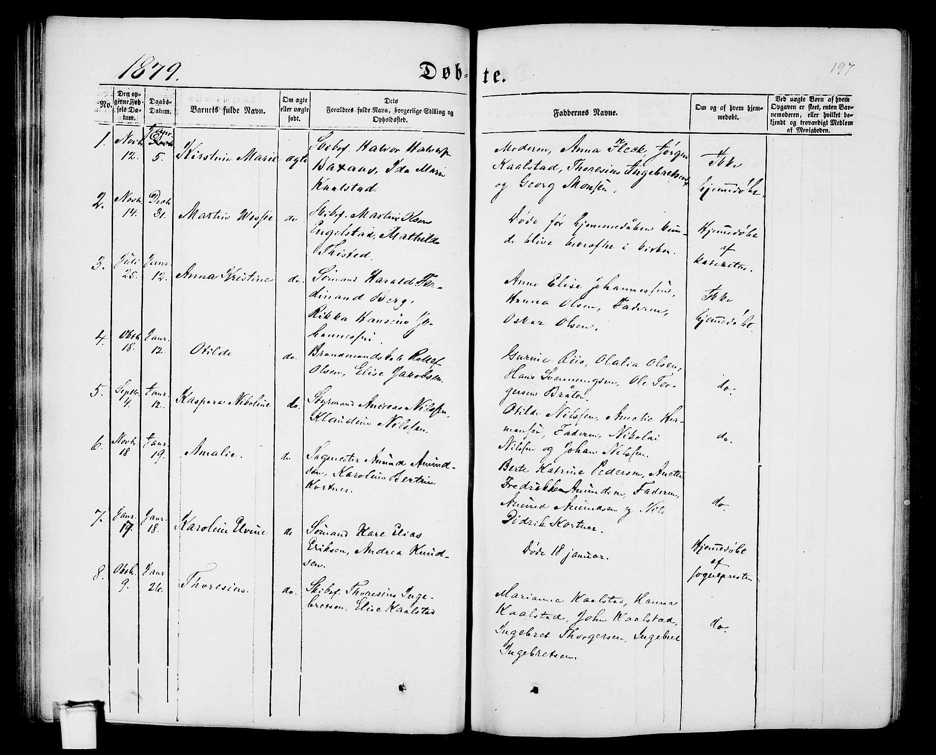 SAKO, Porsgrunn kirkebøker , G/Gb/L0004: Klokkerbok nr. II 4, 1853-1882, s. 197