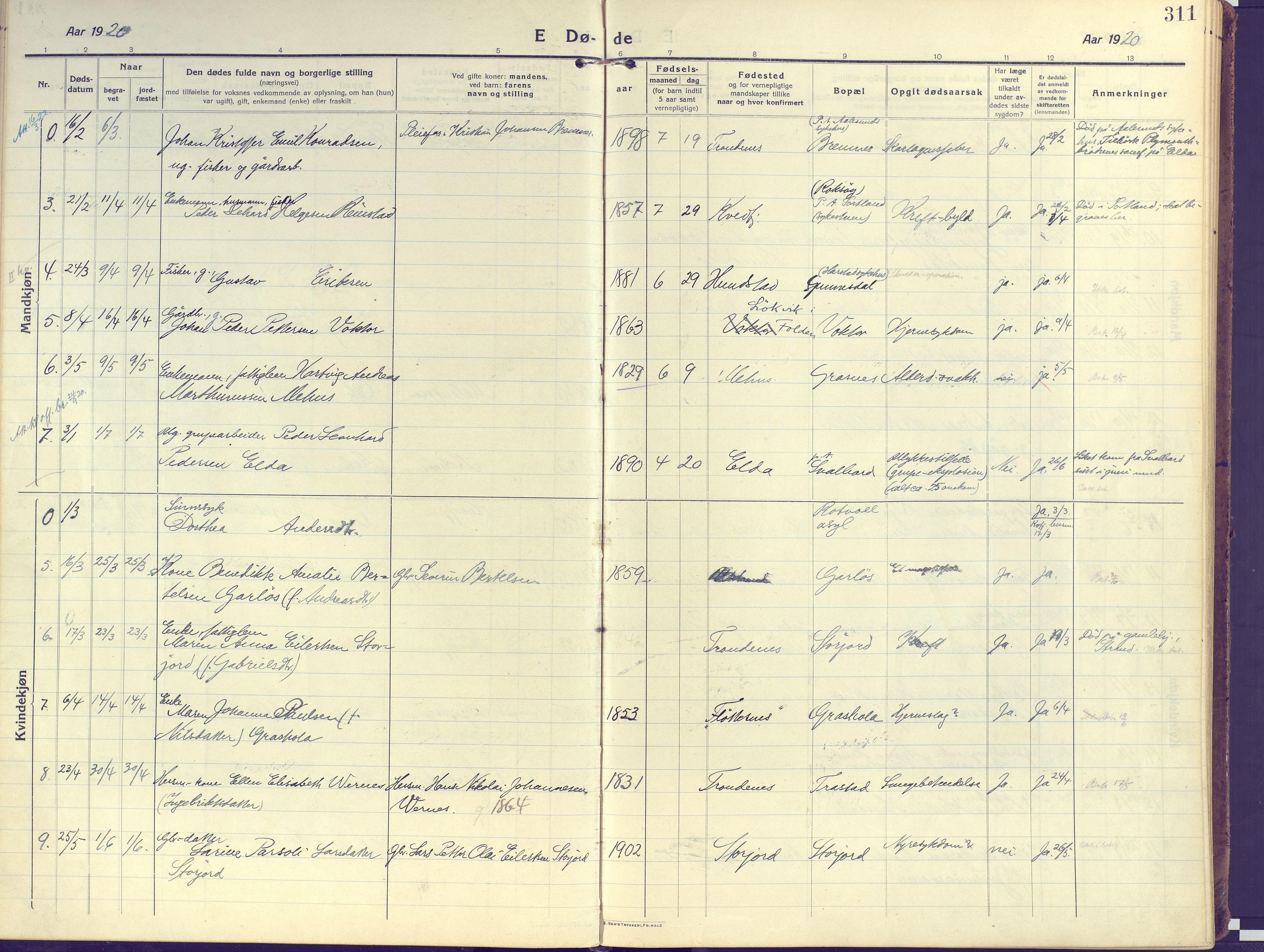 SATØ, Kvæfjord sokneprestkontor, G/Ga/Gaa/L0007kirke: Ministerialbok nr. 7, 1915-1931, s. 311
