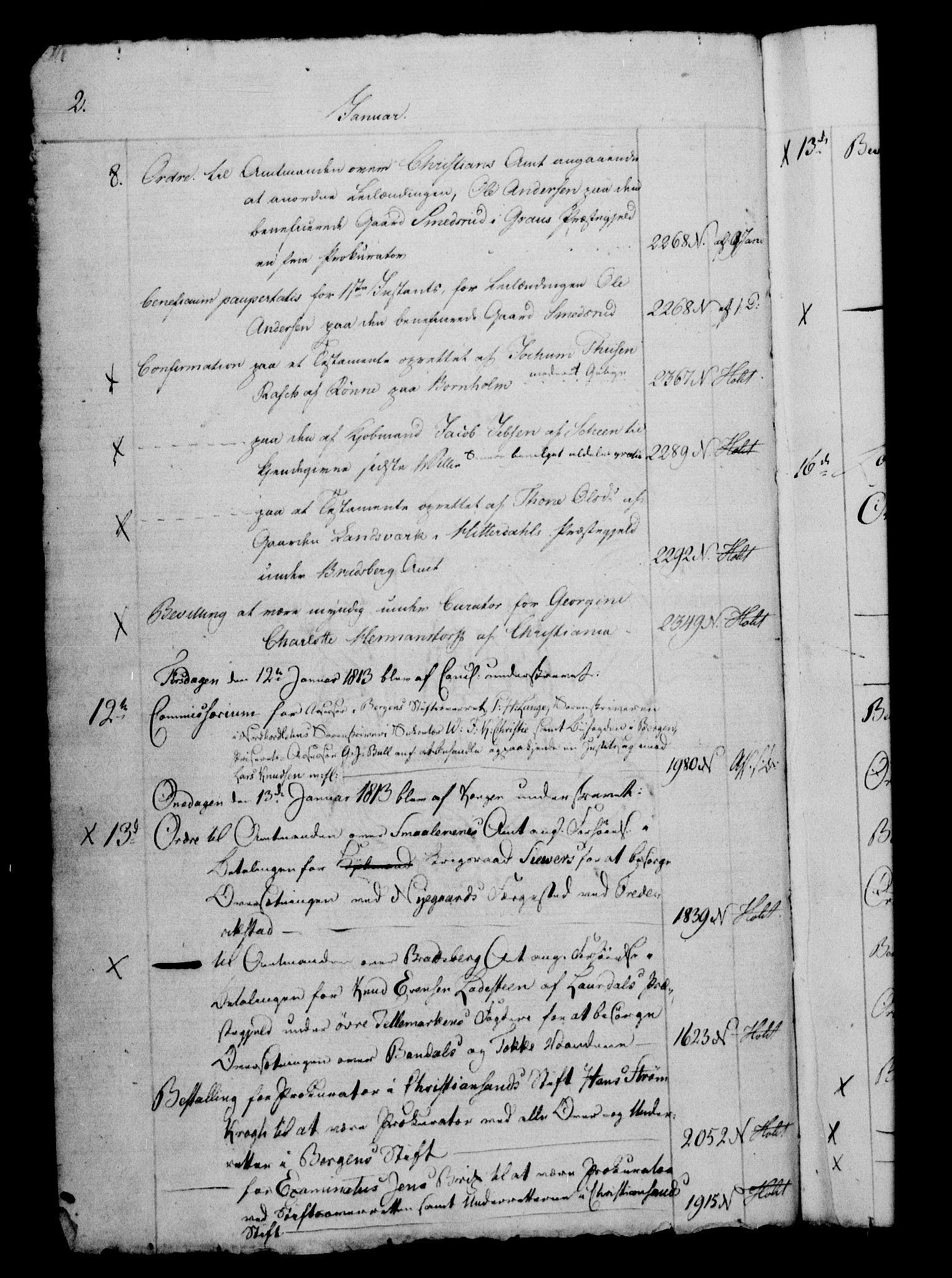 RA, Danske Kanselli 1800-1814, H/Hf/Hfb/Hfbc/L0014: Underskrivelsesbok m. register, 1813, s. 2