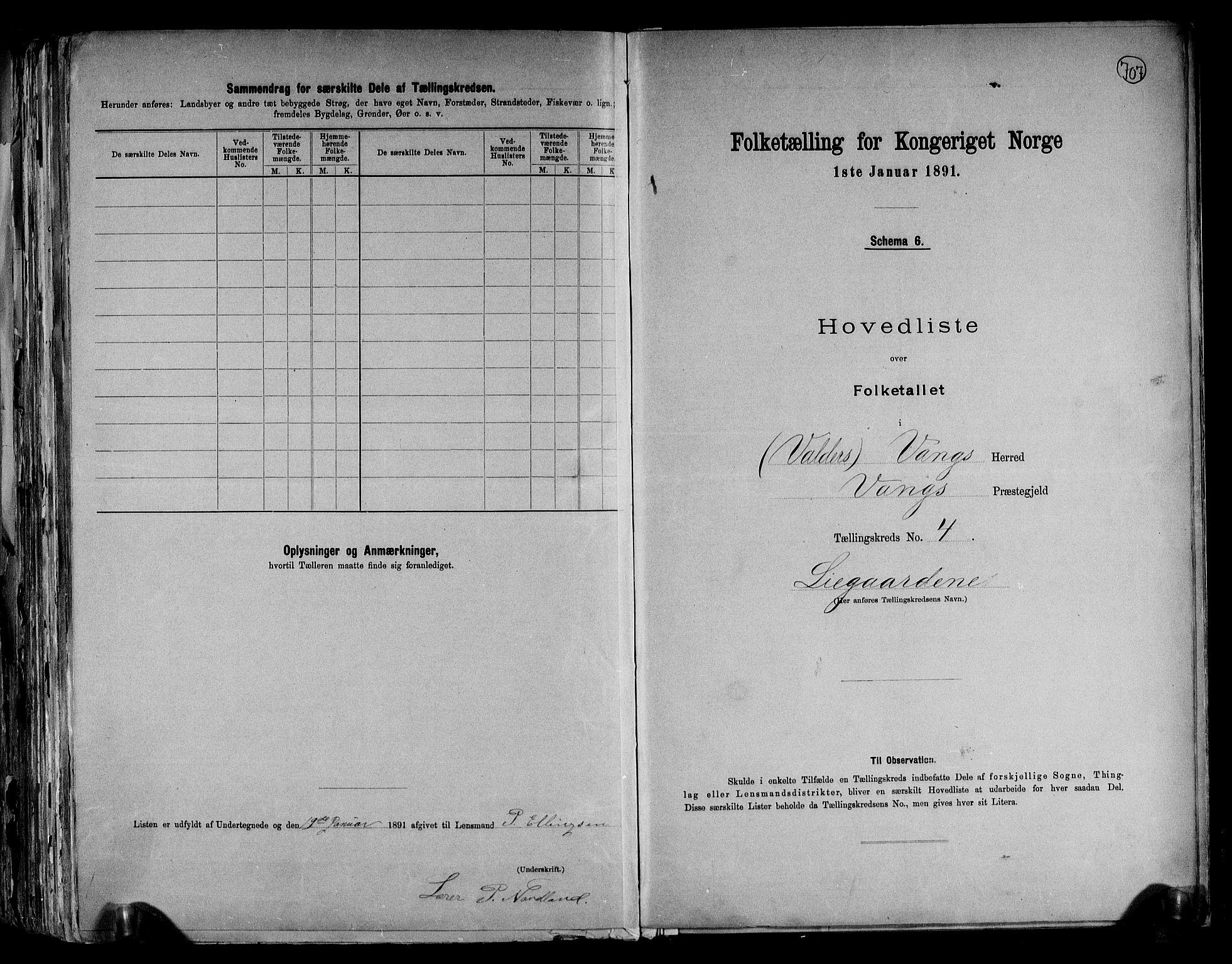 RA, Folketelling 1891 for 0545 Vang herred, 1891, s. 11