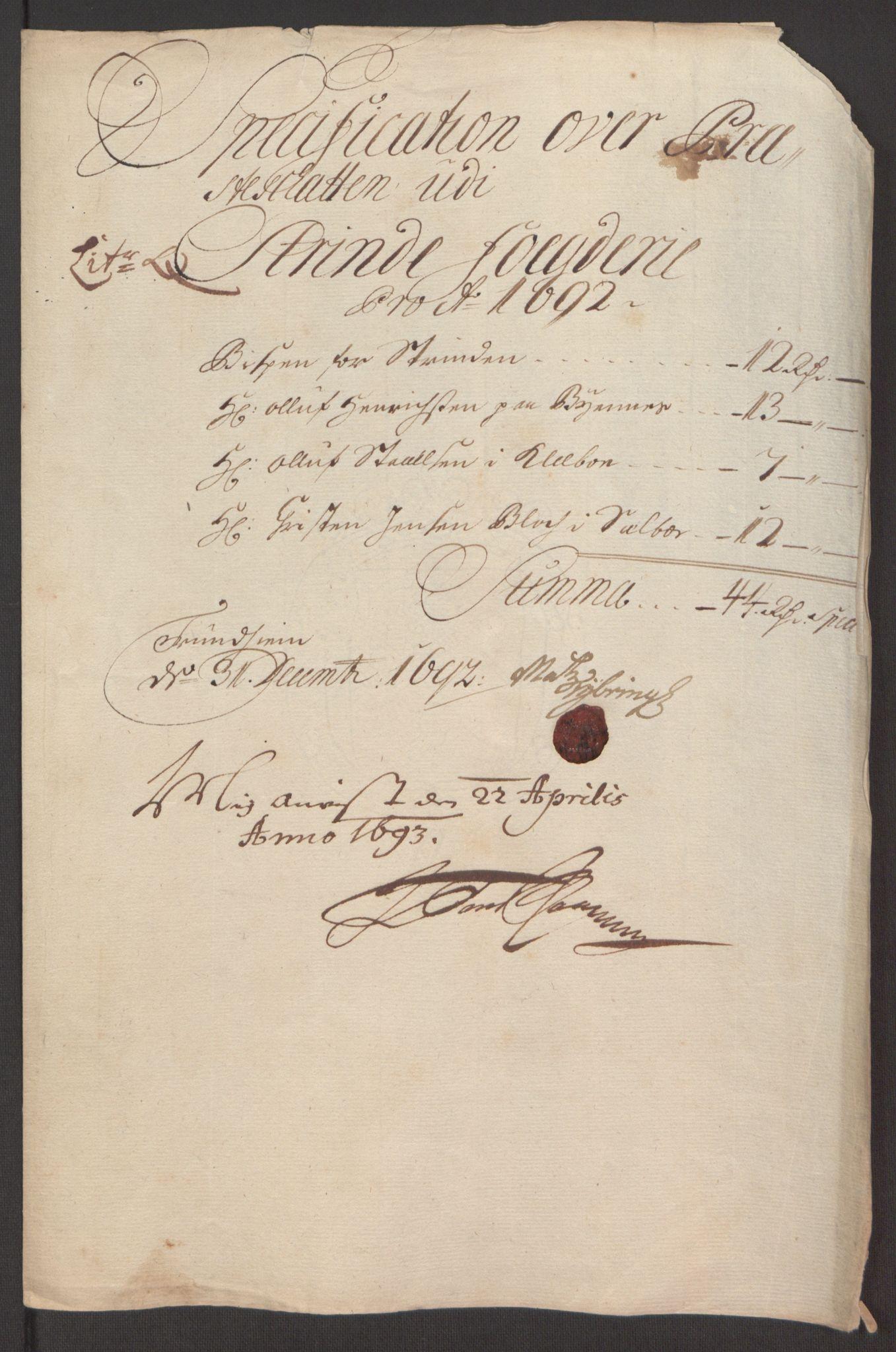 RA, Rentekammeret inntil 1814, Reviderte regnskaper, Fogderegnskap, R61/L4103: Fogderegnskap Strinda og Selbu, 1691-1692, s. 386