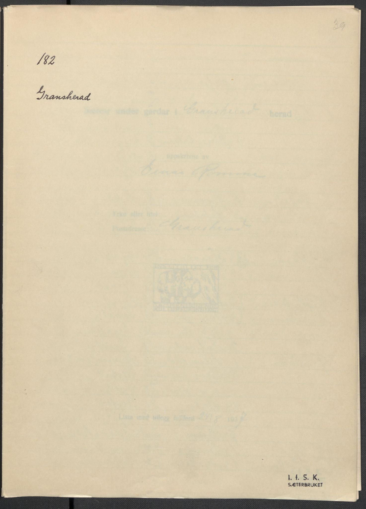 RA, Instituttet for sammenlignende kulturforskning, F/Fc/L0007: Eske B7:, 1934-1937, s. 39