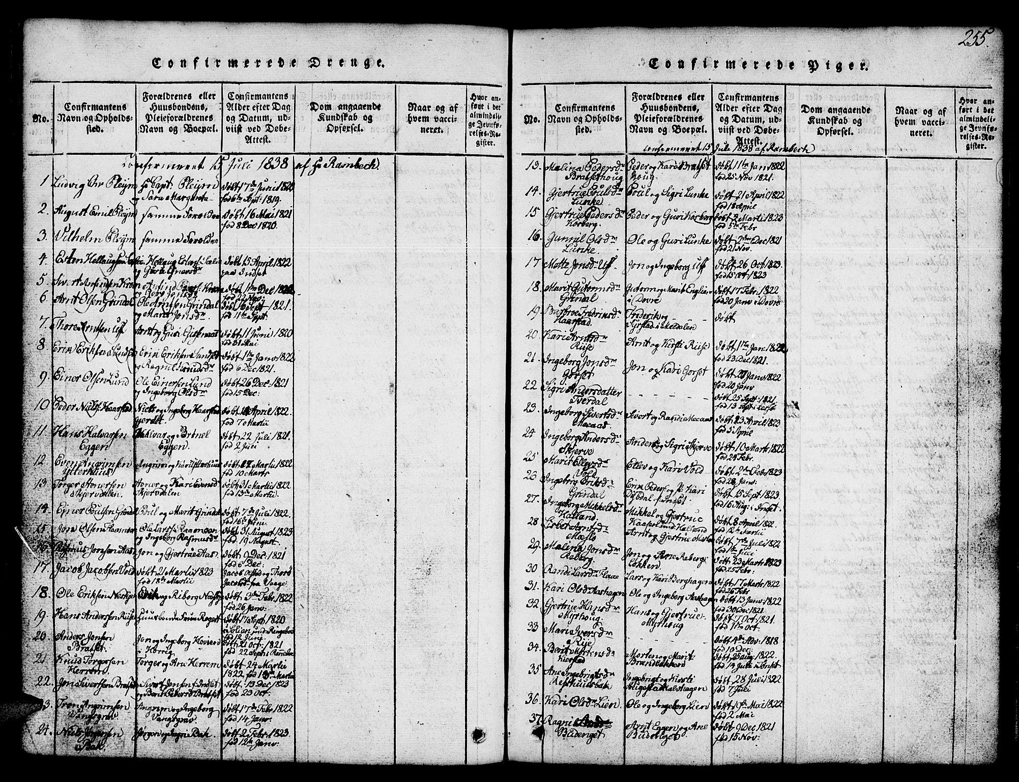 SAT, Ministerialprotokoller, klokkerbøker og fødselsregistre - Sør-Trøndelag, 674/L0874: Klokkerbok nr. 674C01, 1816-1860, s. 255