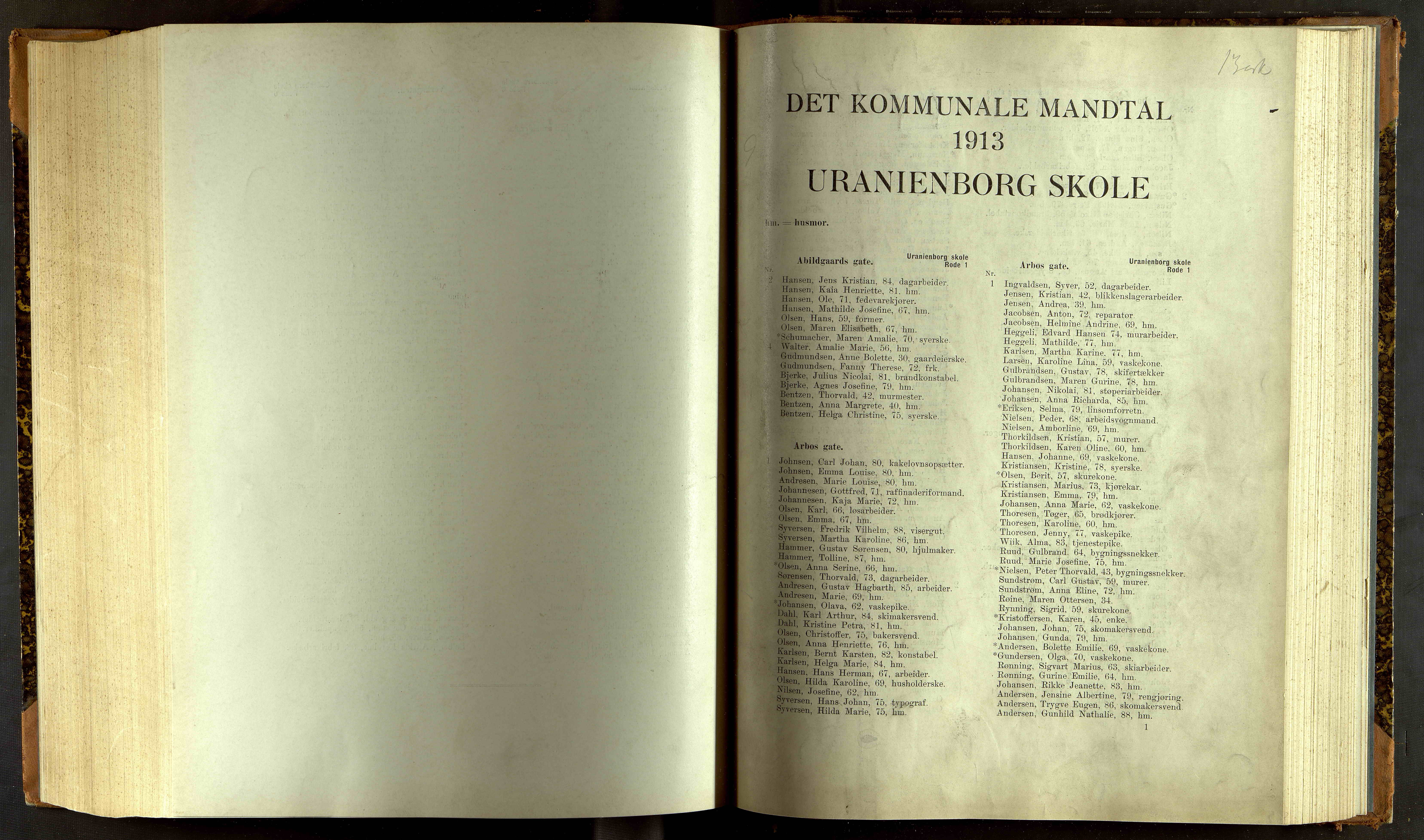 OBA, Folkeregisteret ( Valgstyret ), 1913, s. 10001