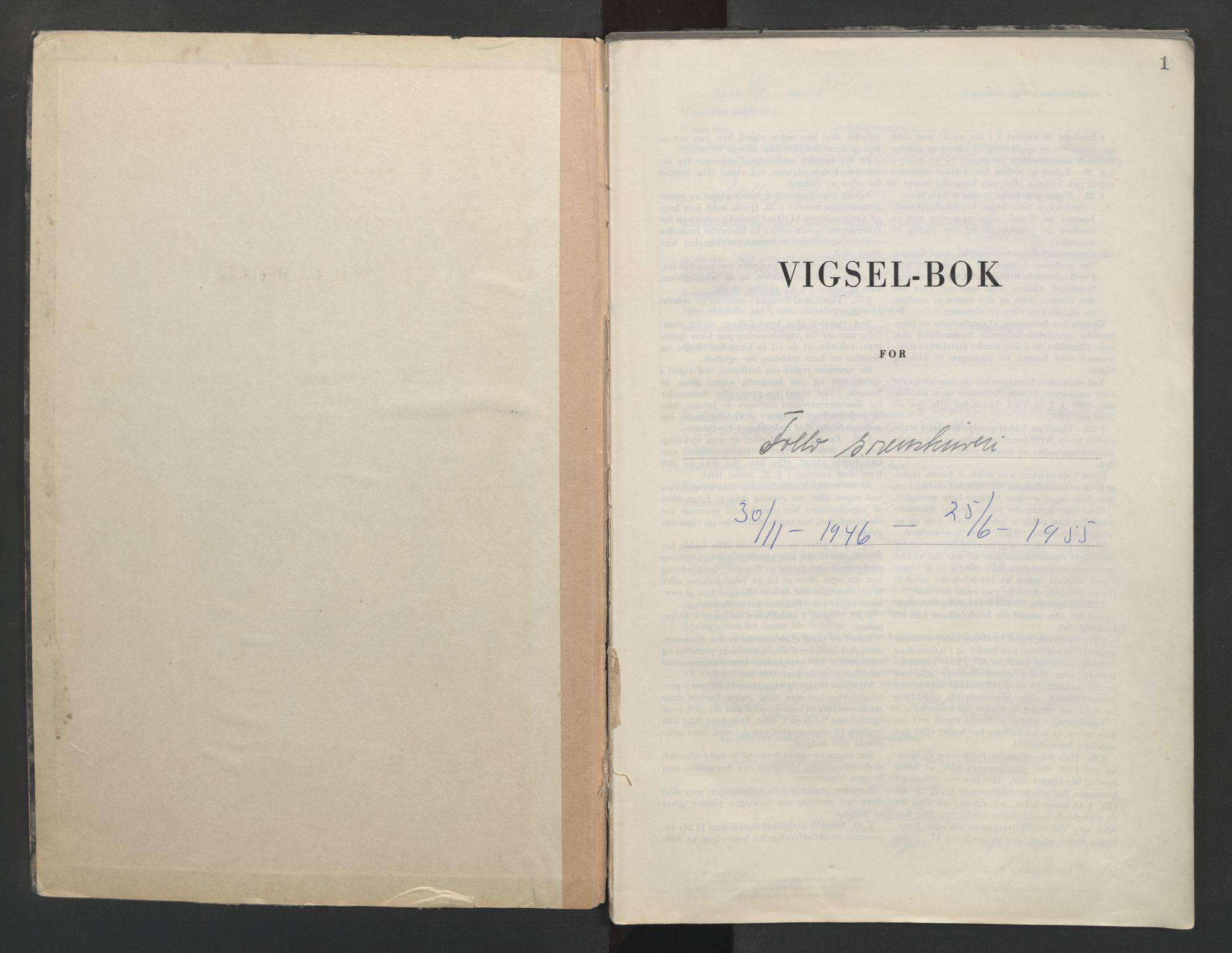 SAO, Follo sorenskriveri, L/La/Lab/L0003: Vigselsbok, 1946-1955, s. 1