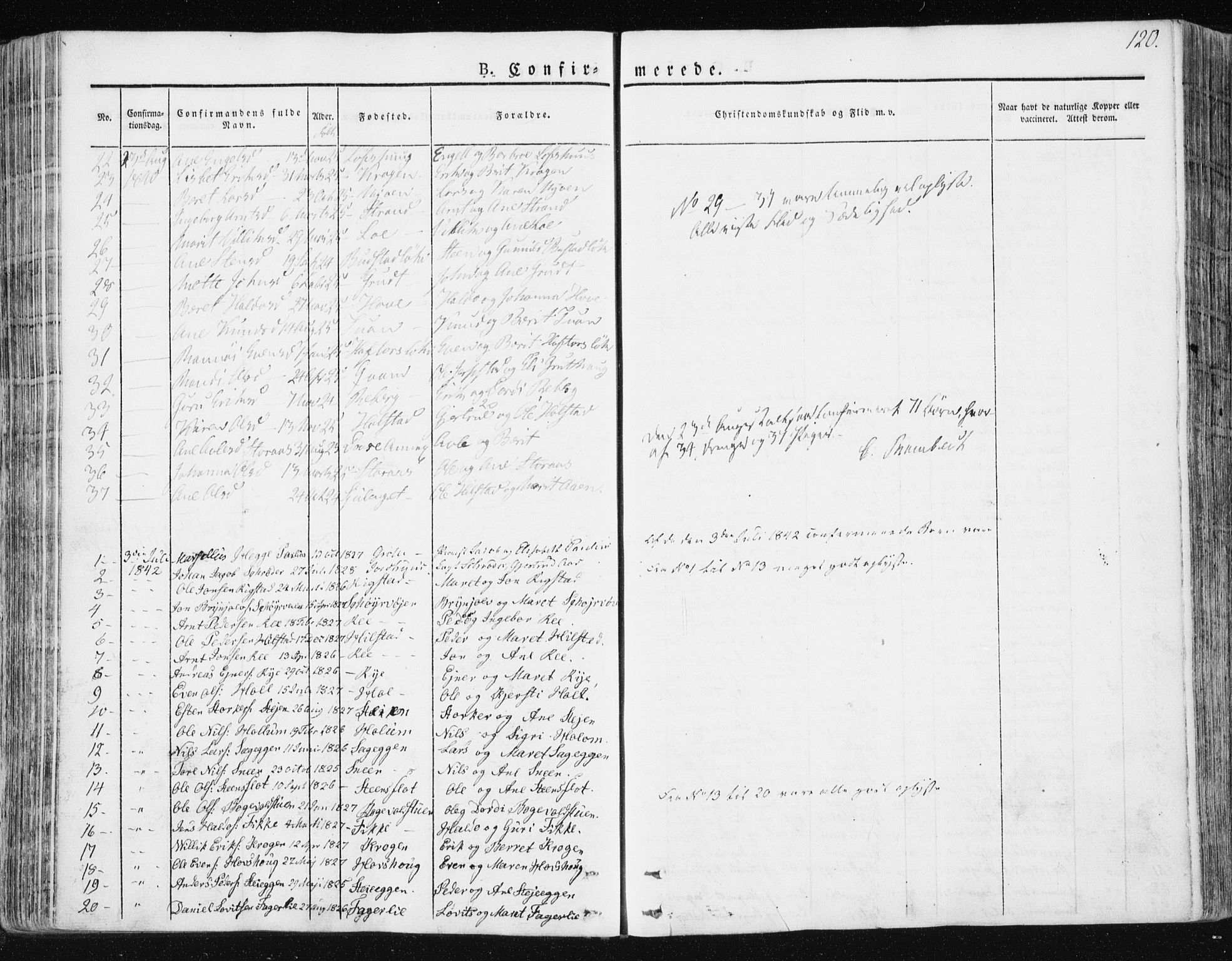 SAT, Ministerialprotokoller, klokkerbøker og fødselsregistre - Sør-Trøndelag, 672/L0855: Ministerialbok nr. 672A07, 1829-1860, s. 120