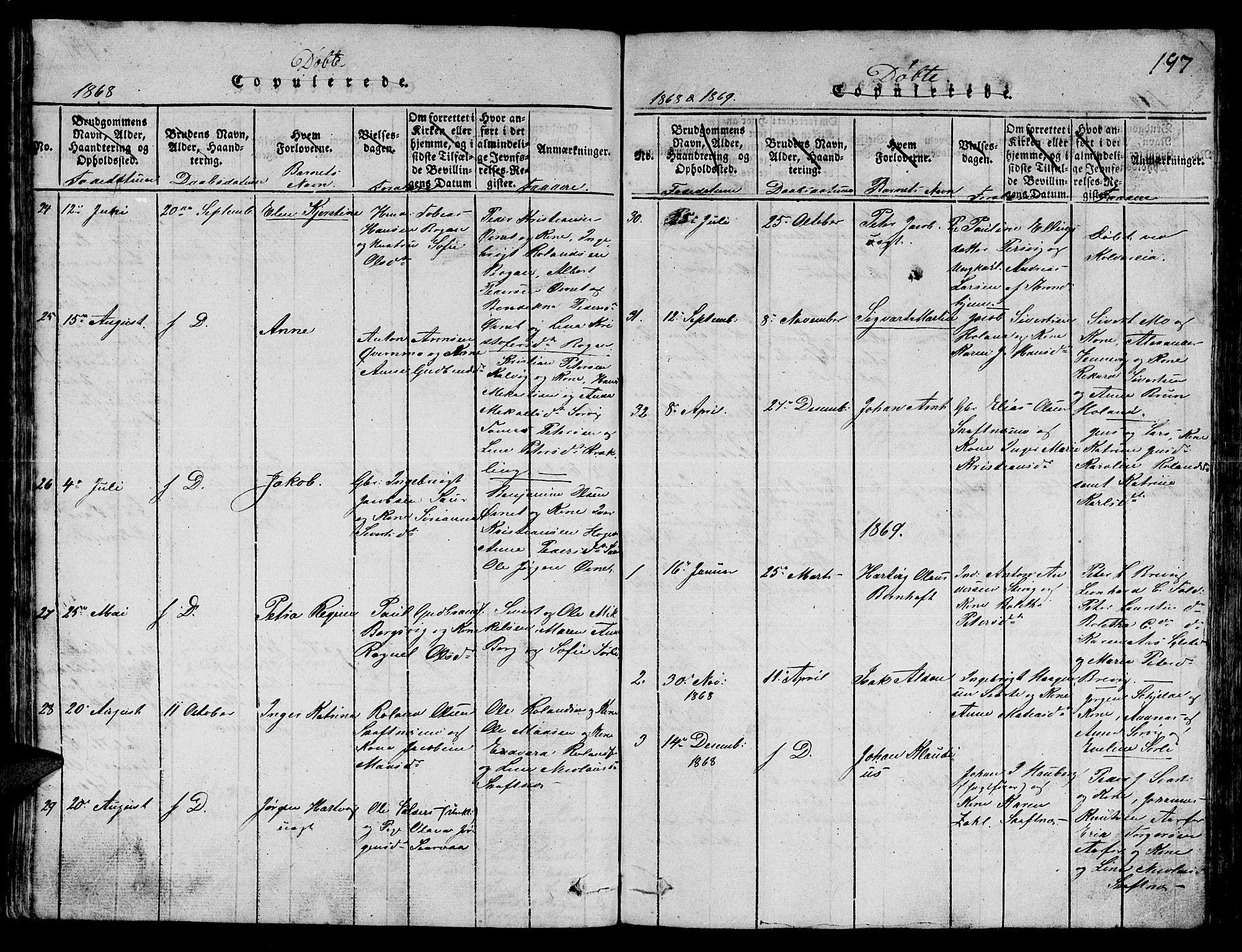 SAT, Ministerialprotokoller, klokkerbøker og fødselsregistre - Nord-Trøndelag, 780/L0648: Klokkerbok nr. 780C01 /3, 1815-1877, s. 197