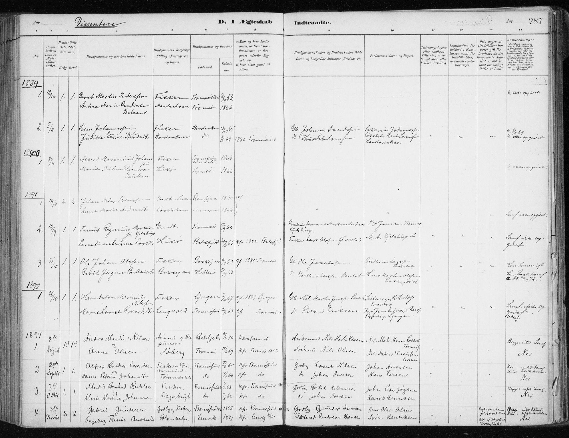 SATØ, Tromsøysund sokneprestkontor, G/Ga/L0005kirke: Ministerialbok nr. 5, 1888-1896, s. 287