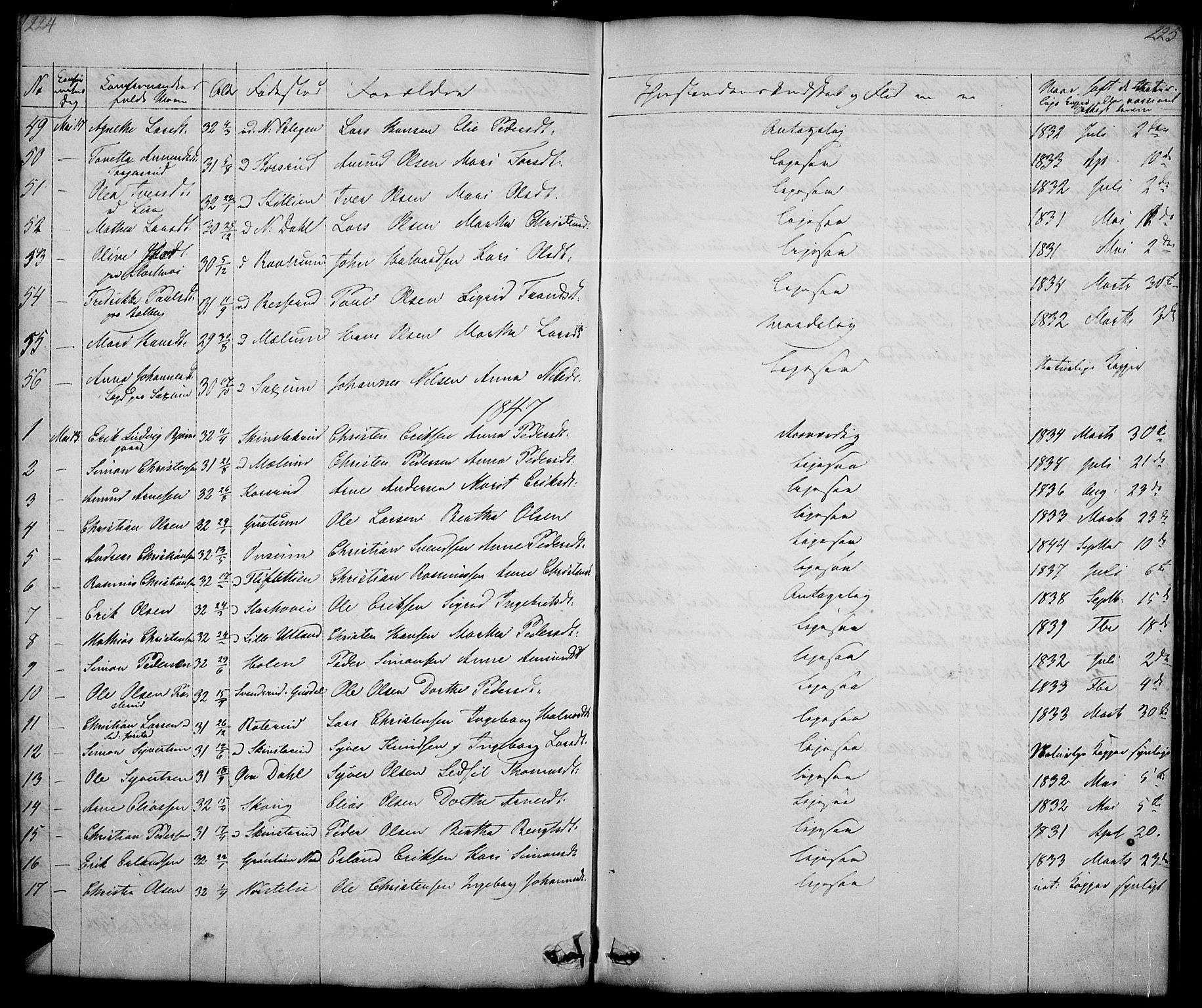 SAH, Fåberg prestekontor, Klokkerbok nr. 5, 1837-1864, s. 224-225
