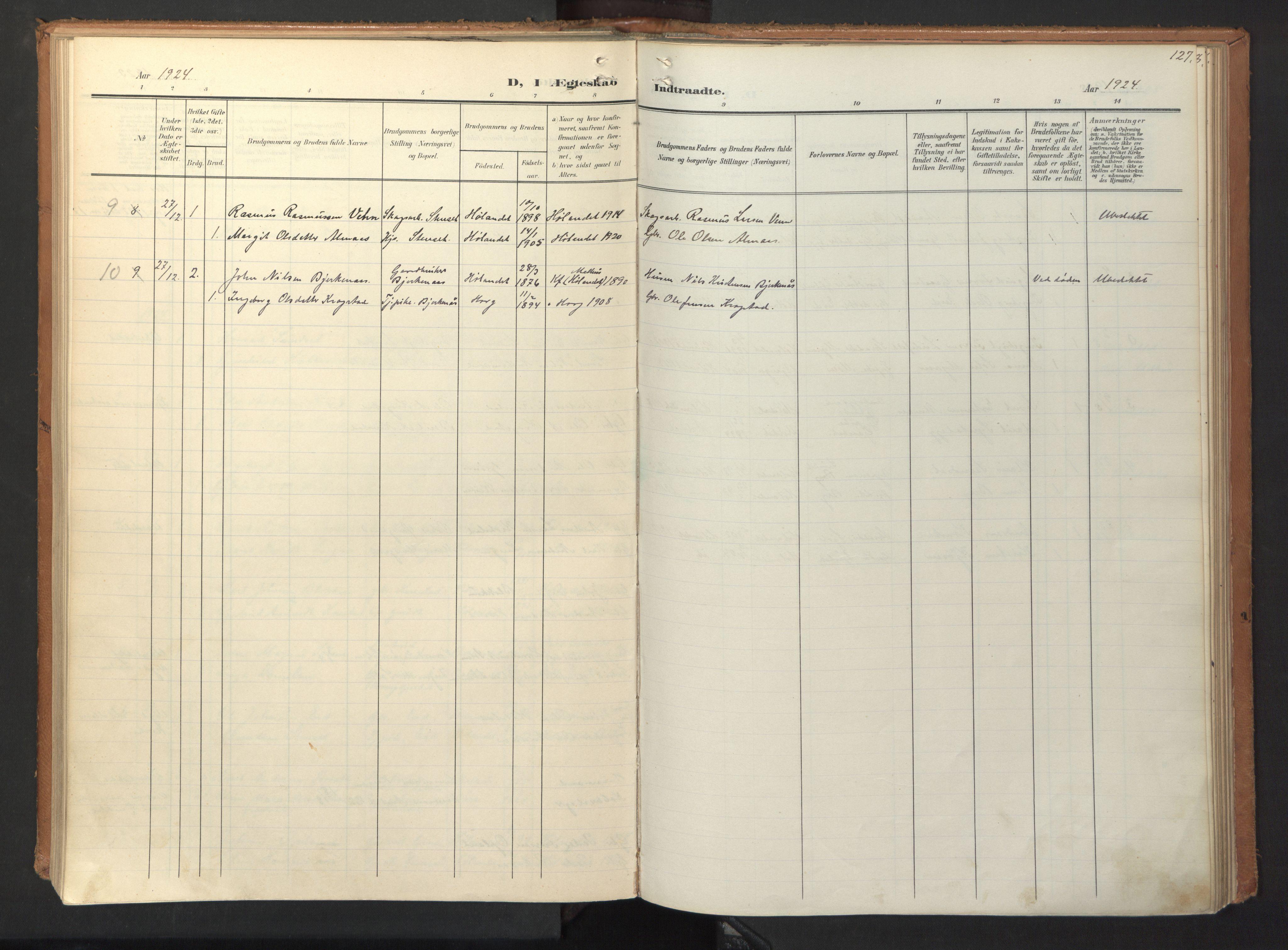 SAT, Ministerialprotokoller, klokkerbøker og fødselsregistre - Sør-Trøndelag, 694/L1128: Ministerialbok nr. 694A02, 1906-1931, s. 127