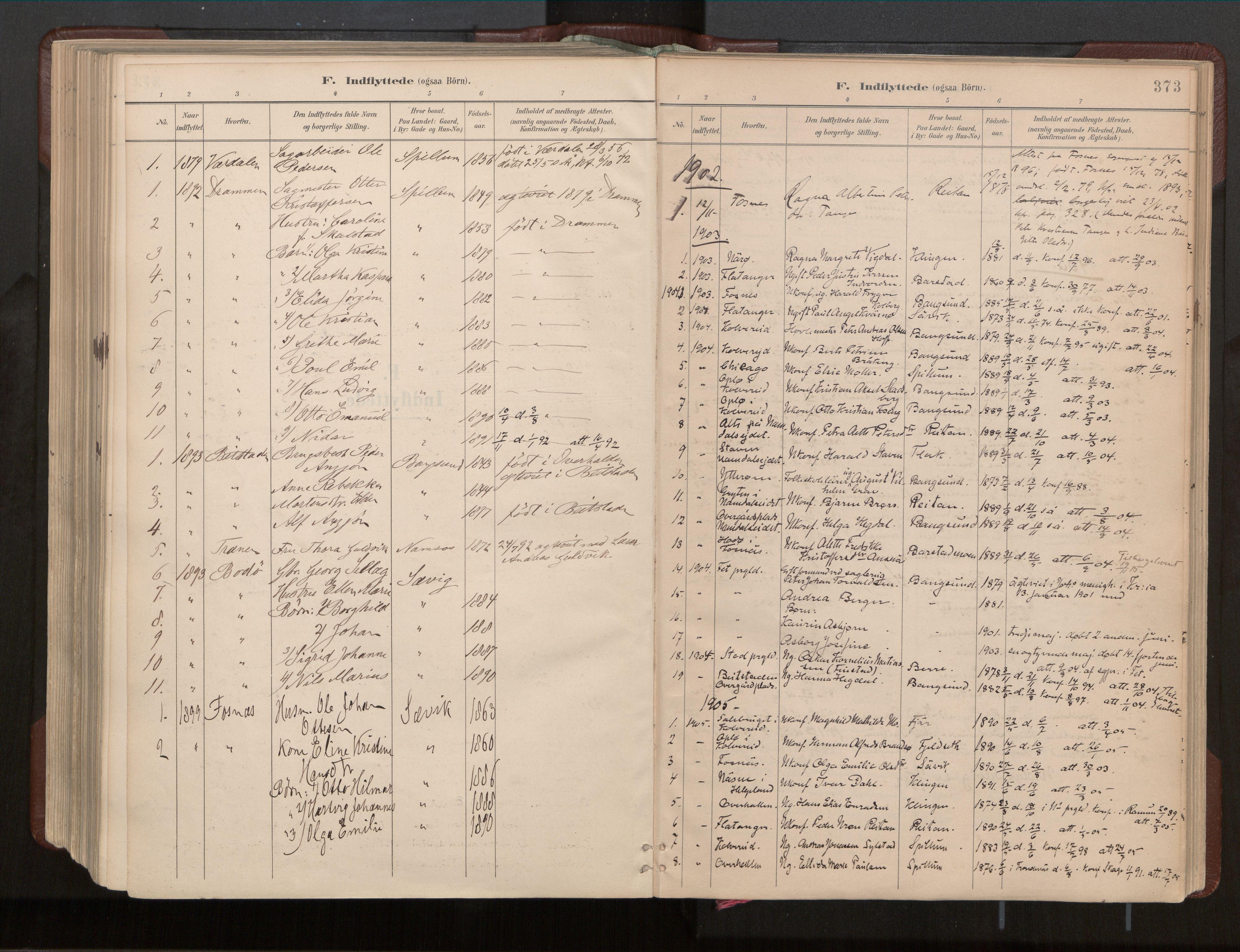 SAT, Ministerialprotokoller, klokkerbøker og fødselsregistre - Nord-Trøndelag, 770/L0589: Ministerialbok nr. 770A03, 1887-1929, s. 373