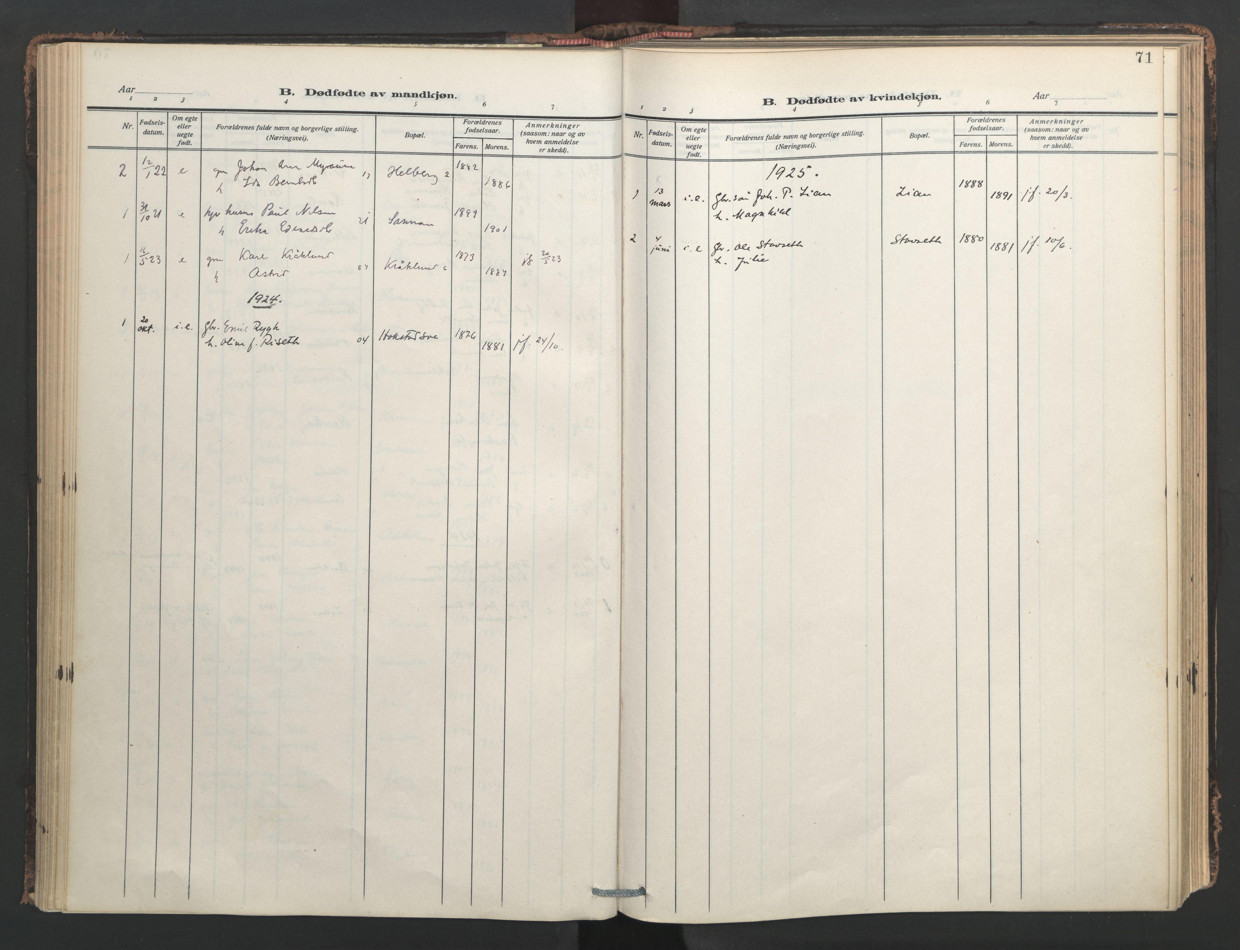 SAT, Ministerialprotokoller, klokkerbøker og fødselsregistre - Nord-Trøndelag, 713/L0123: Ministerialbok nr. 713A12, 1911-1925, s. 71