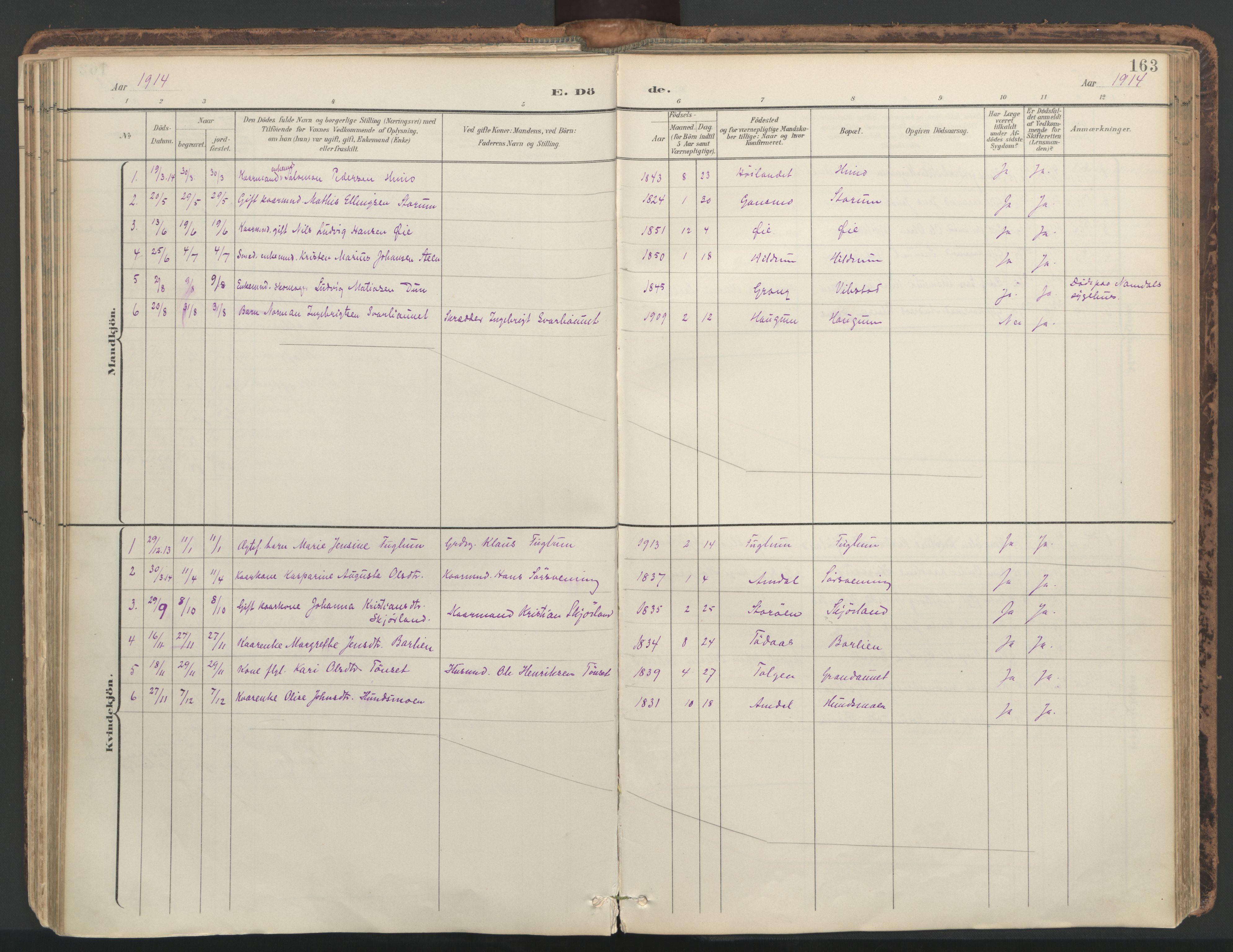 SAT, Ministerialprotokoller, klokkerbøker og fødselsregistre - Nord-Trøndelag, 764/L0556: Ministerialbok nr. 764A11, 1897-1924, s. 163
