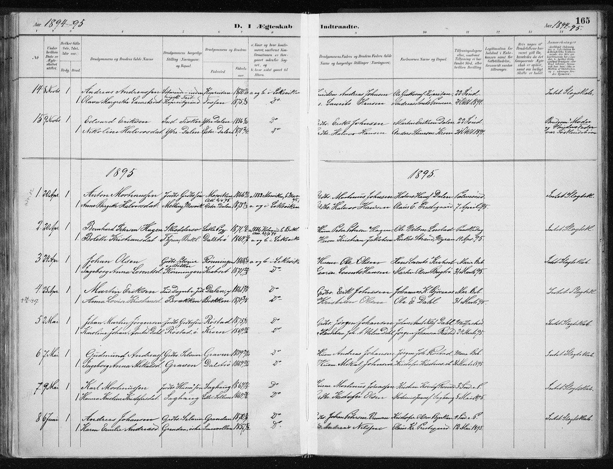 SAT, Ministerialprotokoller, klokkerbøker og fødselsregistre - Nord-Trøndelag, 701/L0010: Ministerialbok nr. 701A10, 1883-1899, s. 165