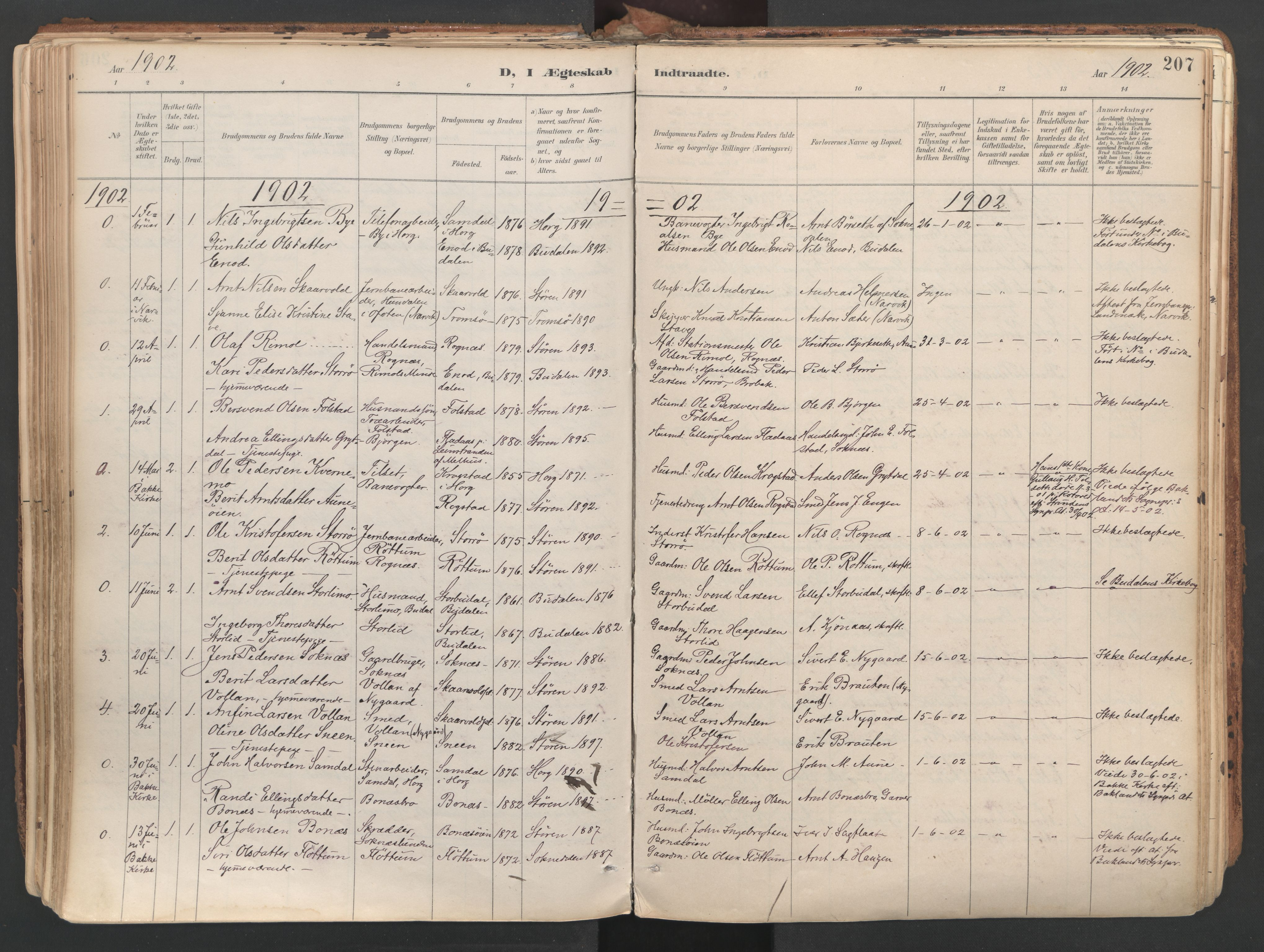SAT, Ministerialprotokoller, klokkerbøker og fødselsregistre - Sør-Trøndelag, 687/L1004: Ministerialbok nr. 687A10, 1891-1923, s. 207