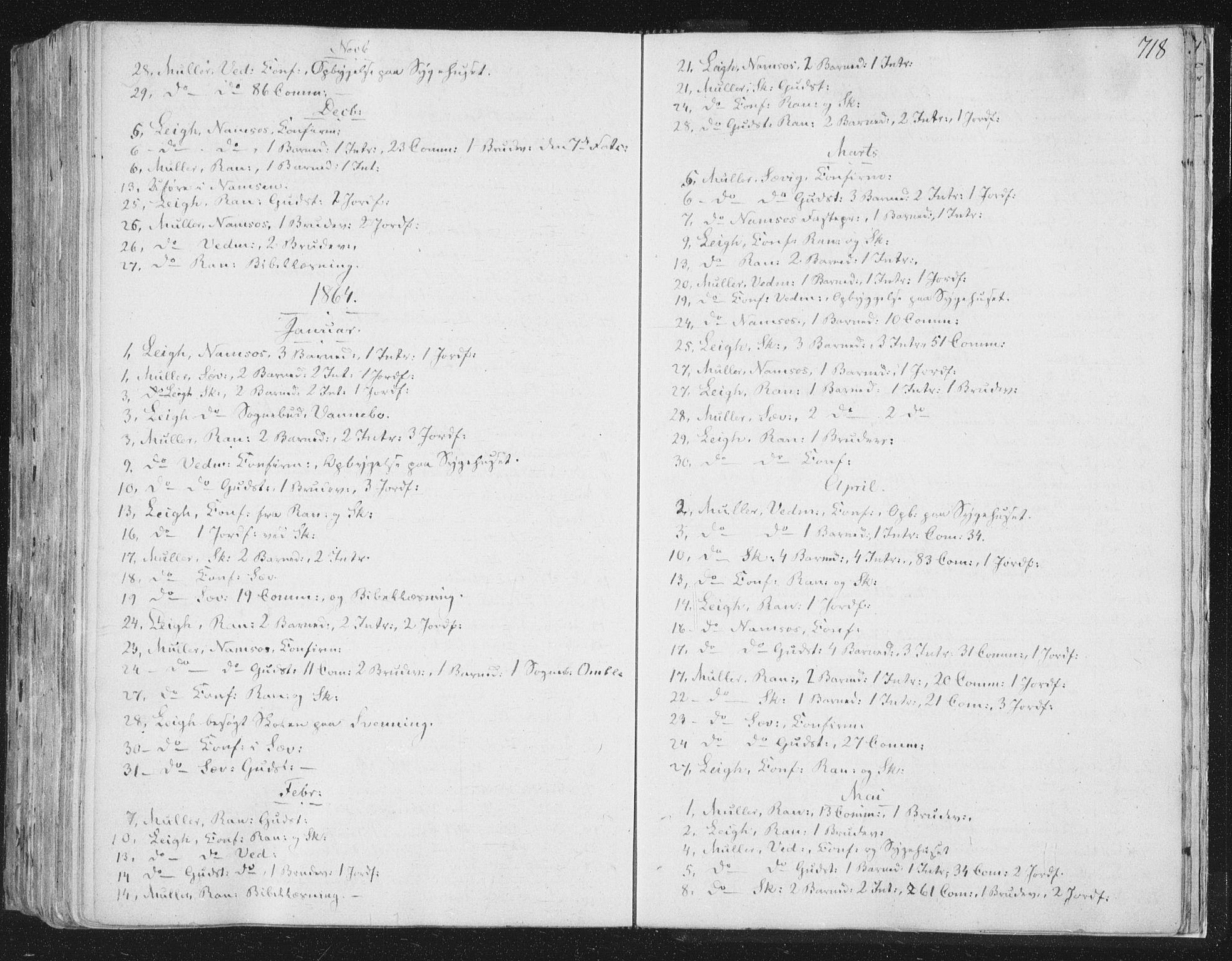 SAT, Ministerialprotokoller, klokkerbøker og fødselsregistre - Nord-Trøndelag, 764/L0552: Ministerialbok nr. 764A07b, 1824-1865, s. 718