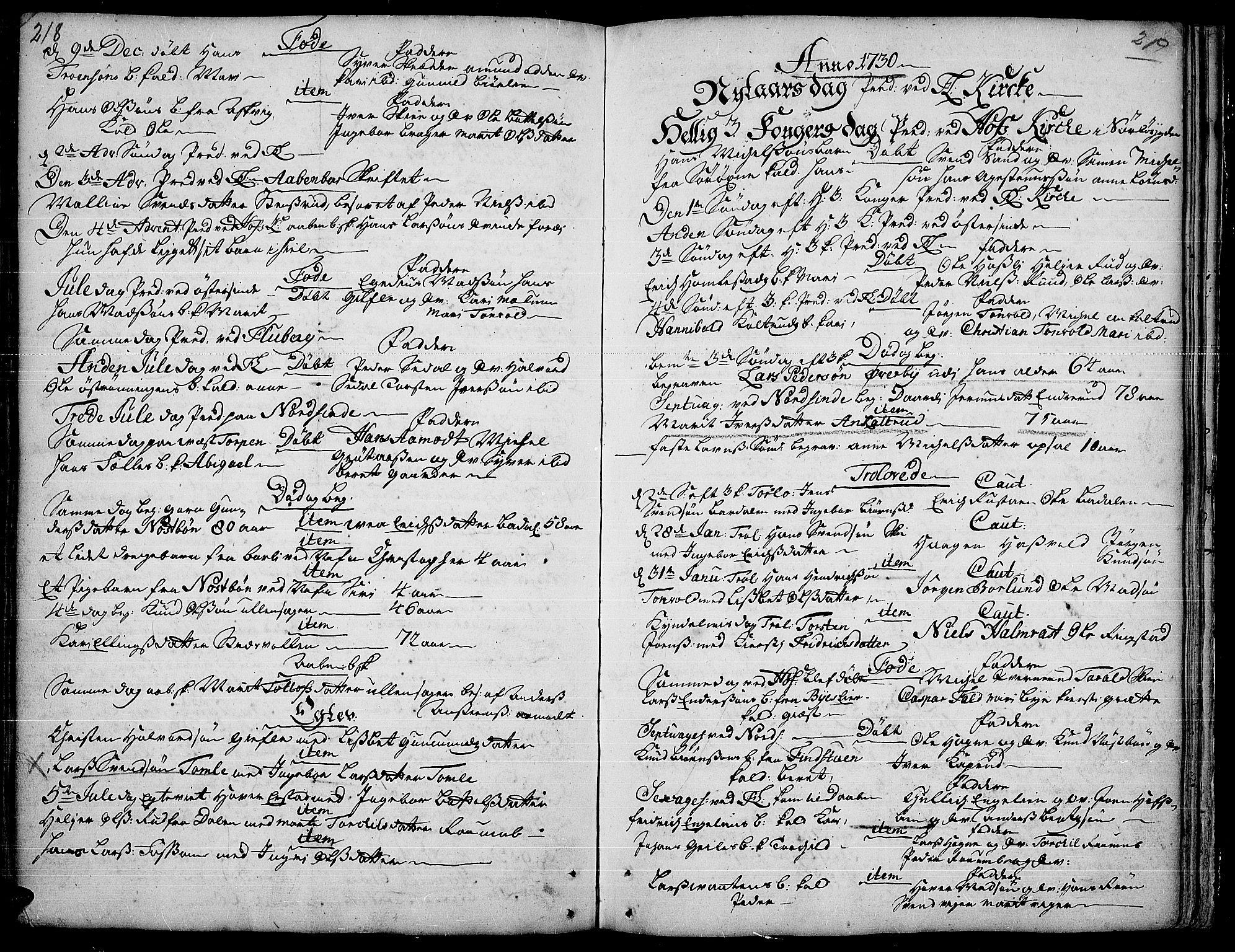 SAH, Land prestekontor, Ministerialbok nr. 1, 1708-1732, s. 218-219