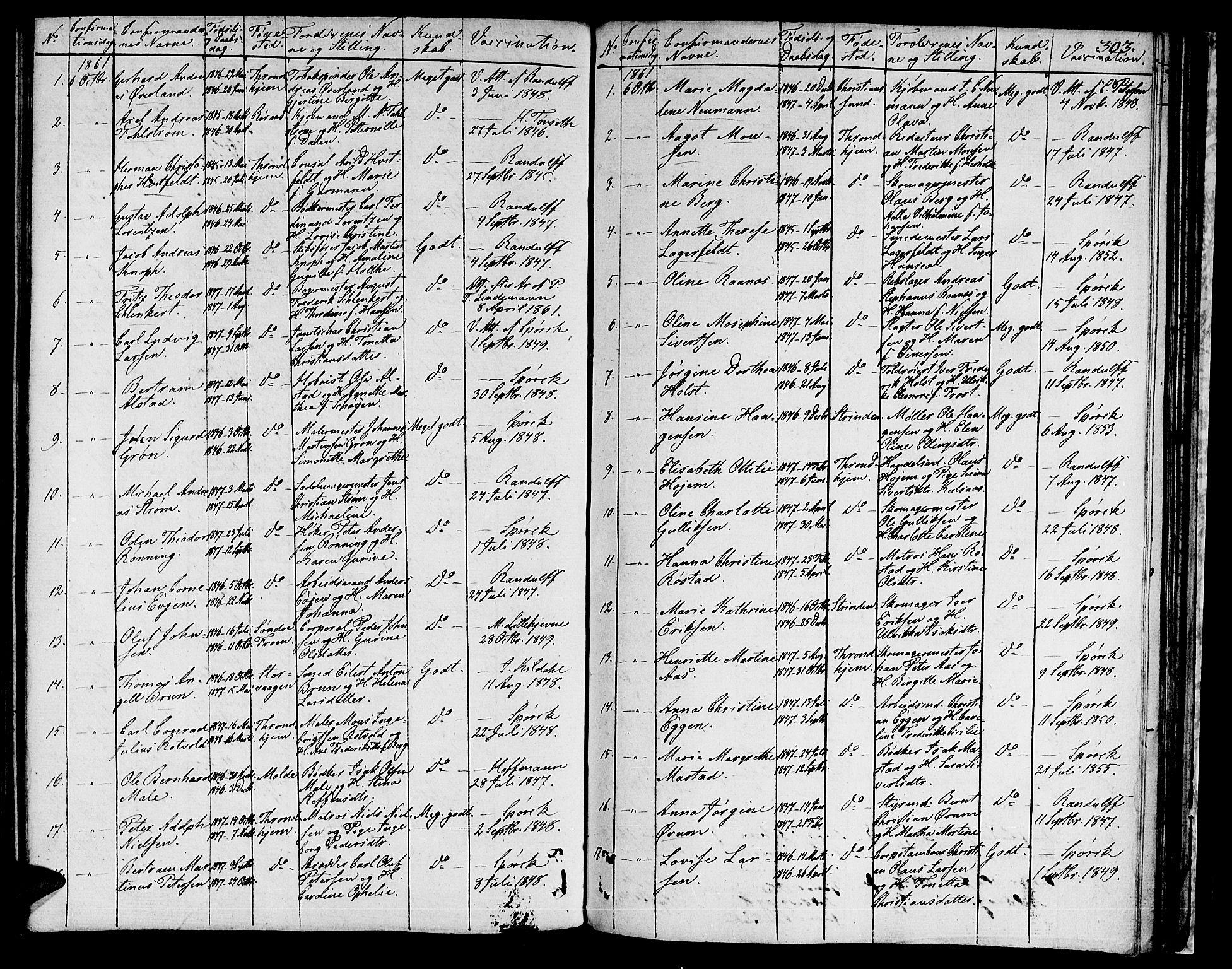 SAT, Ministerialprotokoller, klokkerbøker og fødselsregistre - Sør-Trøndelag, 601/L0070: Residerende kapellans bok nr. 601B03, 1821-1881, s. 303