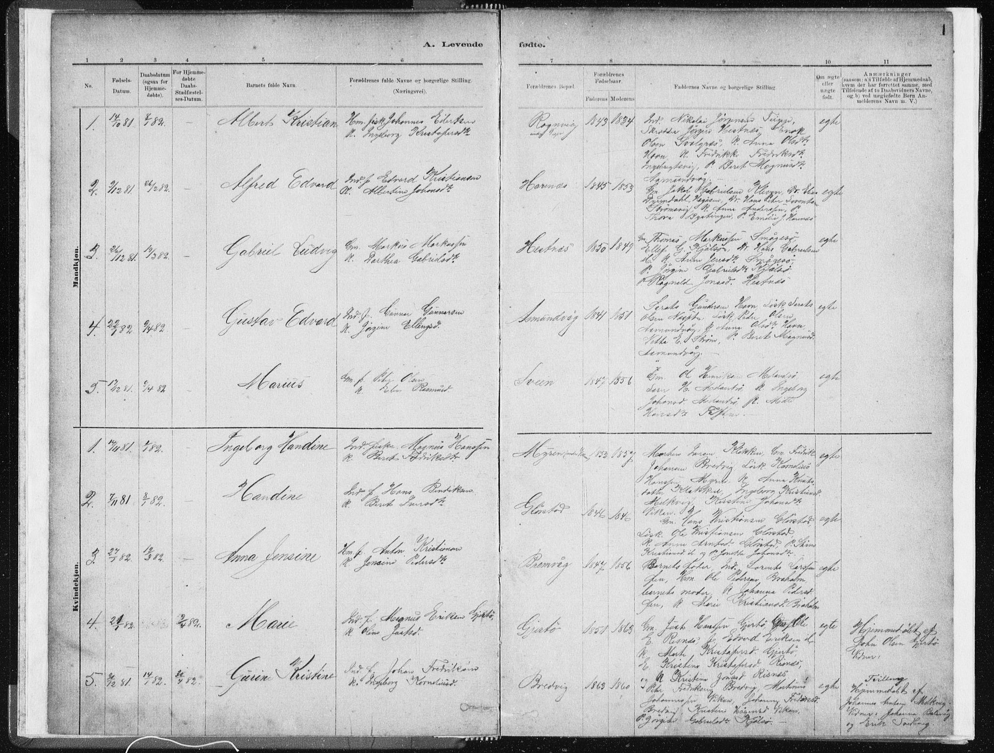 SAT, Ministerialprotokoller, klokkerbøker og fødselsregistre - Sør-Trøndelag, 634/L0533: Ministerialbok nr. 634A09, 1882-1901, s. 1