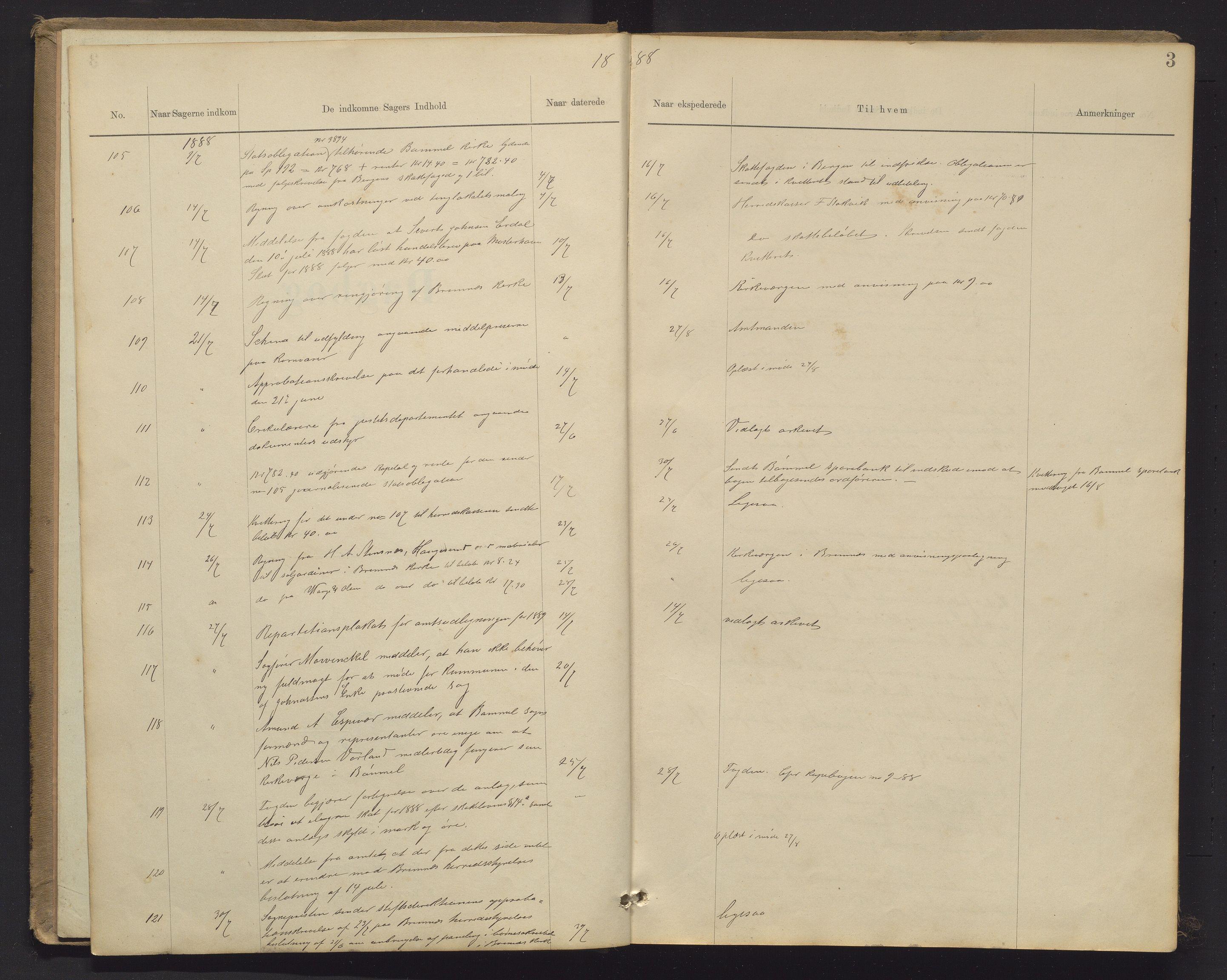 IKAH, Finnaas kommune. Formannskapet, C/Ca/L0002: Postjournal for formannskapet, 1888-1901, s. 3